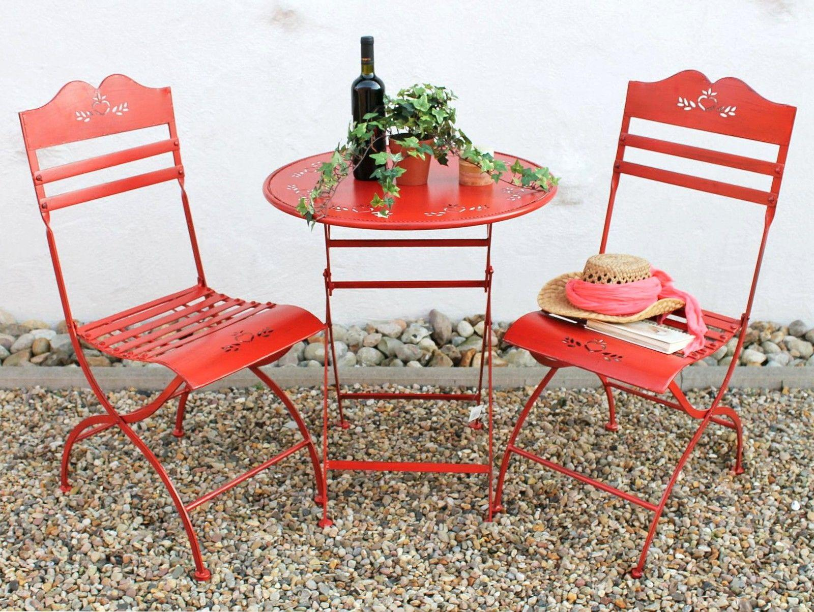 seating area passion table with 2 chairs set of metal red garden ebay. Black Bedroom Furniture Sets. Home Design Ideas