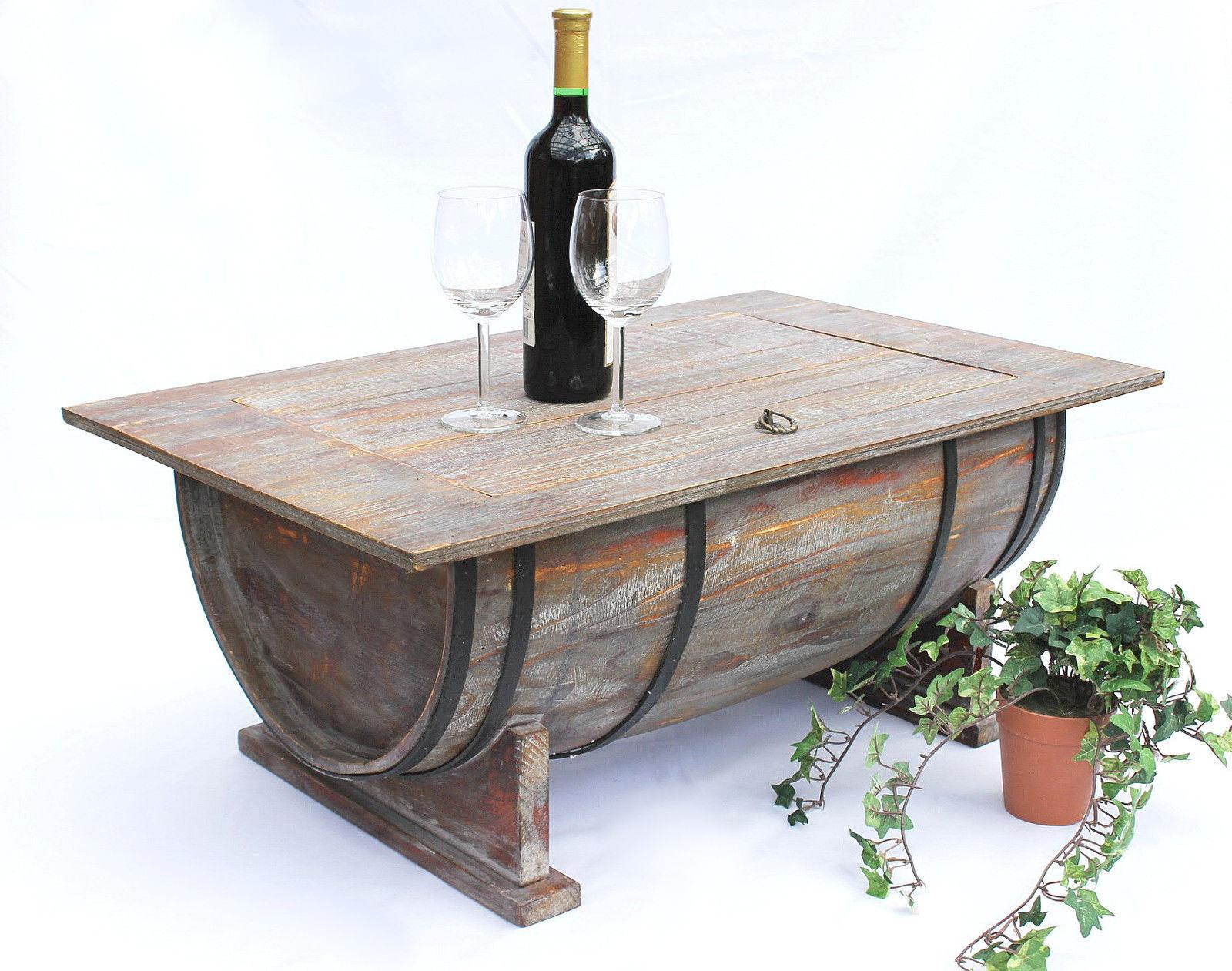 Coffee table wine barrel 5084 wooden rack 80cm side bar ebay for Coffee tables 80cm wide