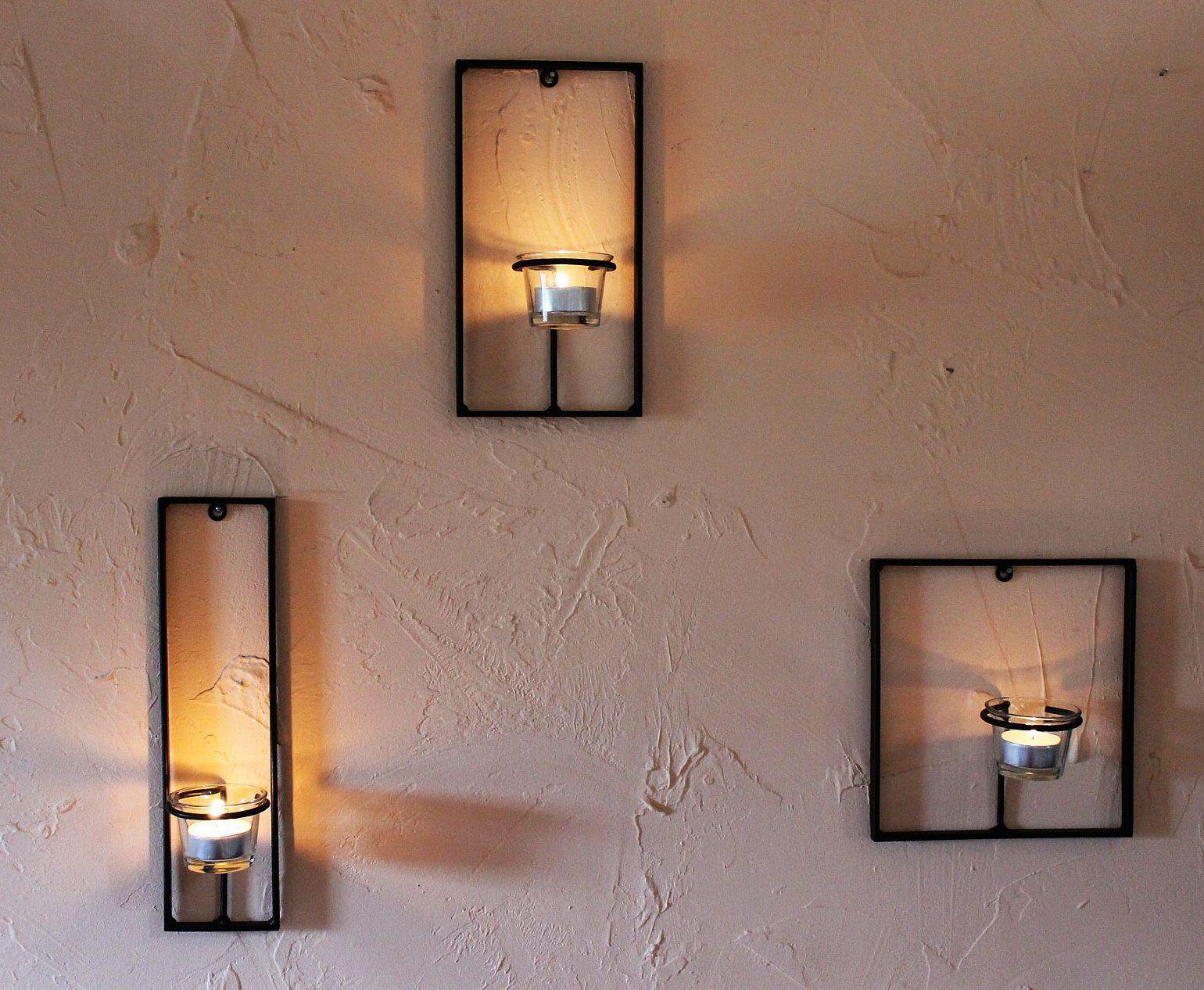 Wall Hung Tea Light Holders : Wall Mounted Tea Light Holder Carre 3-tlg. Candle Metal eBay