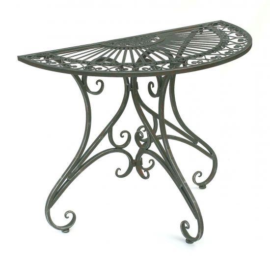 tisch halbrund wandtisch halbtisch 130434 beistelltisch aus metall 90 cm gartentisch konsole dandibo. Black Bedroom Furniture Sets. Home Design Ideas