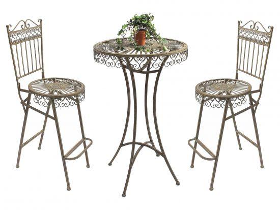 Sitzgruppe Passion Tisch mit 2 St/ühle Set aus Metall Rot Gartenstuhl Gartentisch