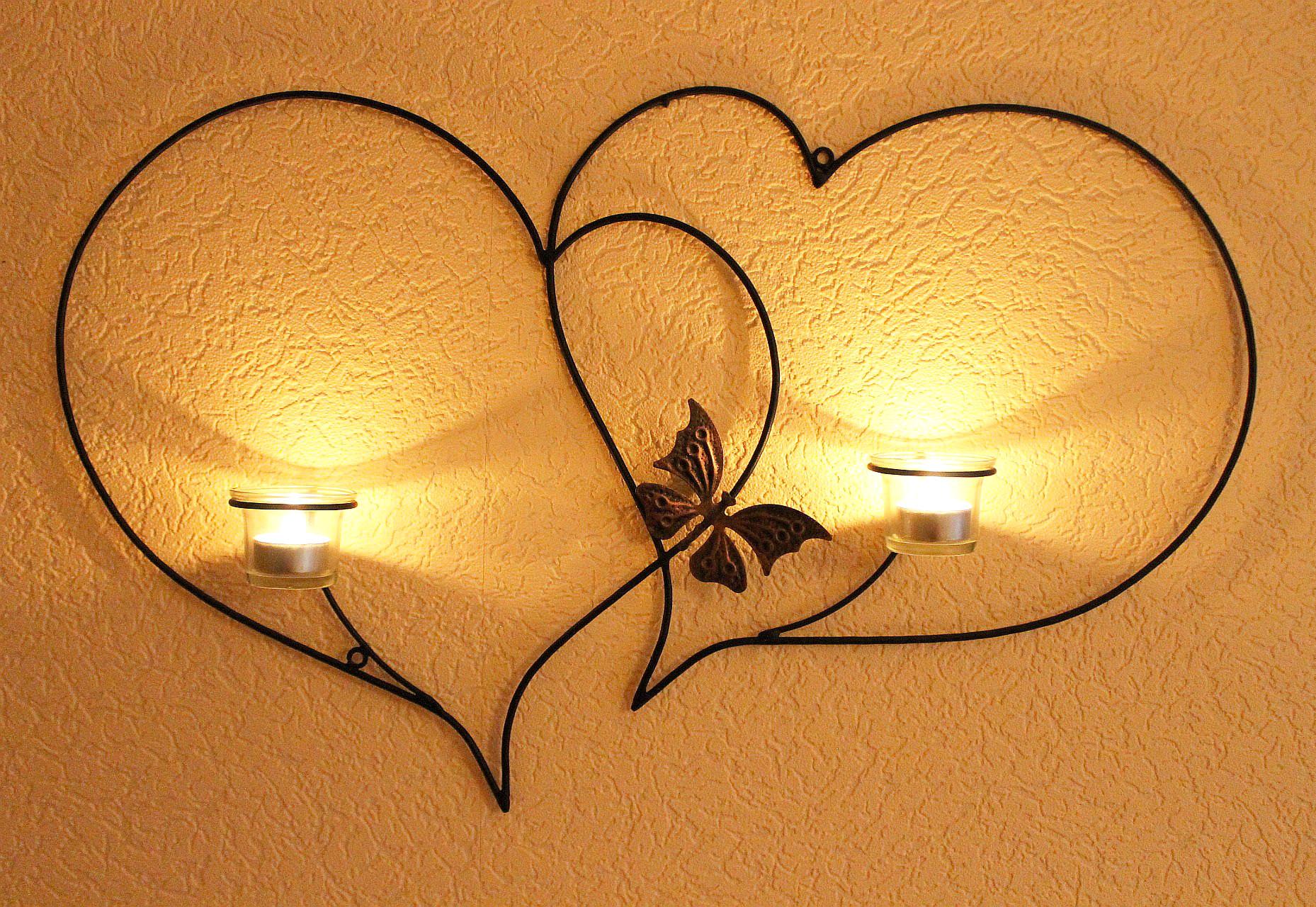 doppelherz wandteelichthalter herz 65 cm teelichthalter aus metall wandleuchter kerzenhalter. Black Bedroom Furniture Sets. Home Design Ideas