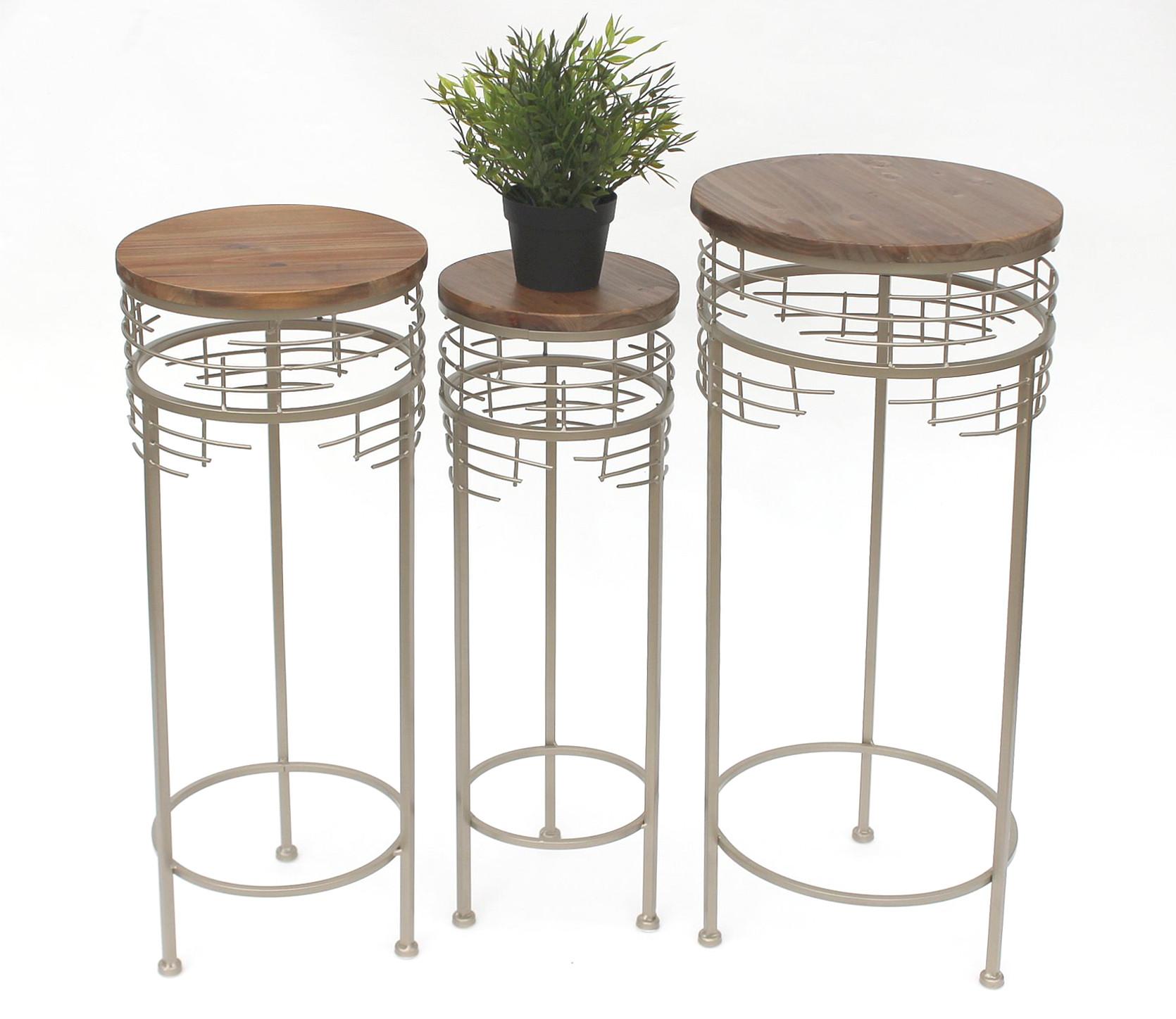 blumenhocker metall 21288 3er set blumenst nder rund beistelltisch modern dandibo ambiente. Black Bedroom Furniture Sets. Home Design Ideas