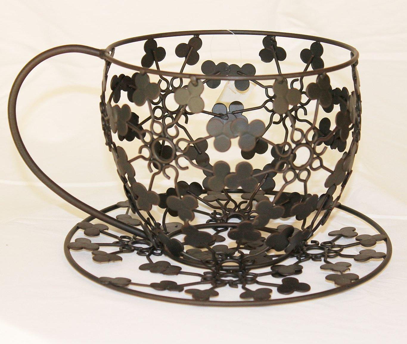 blumenst nder pflanzenst nder vase teetasse aus metall 26 cm schwarz ch143 dandibo. Black Bedroom Furniture Sets. Home Design Ideas