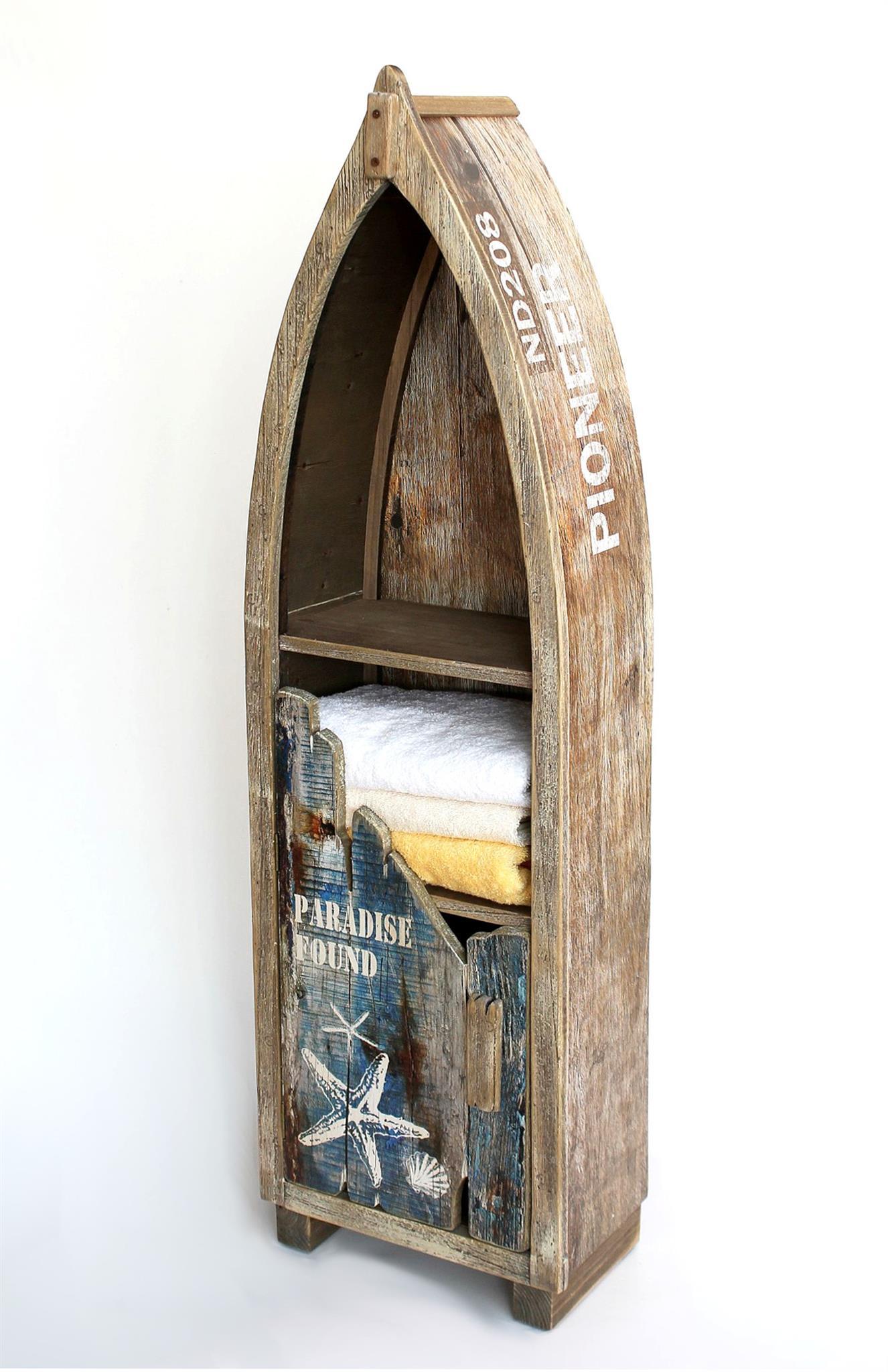 Regal Boot Bootsform Holz Massiv Antik Mr16 Maritim Badregal