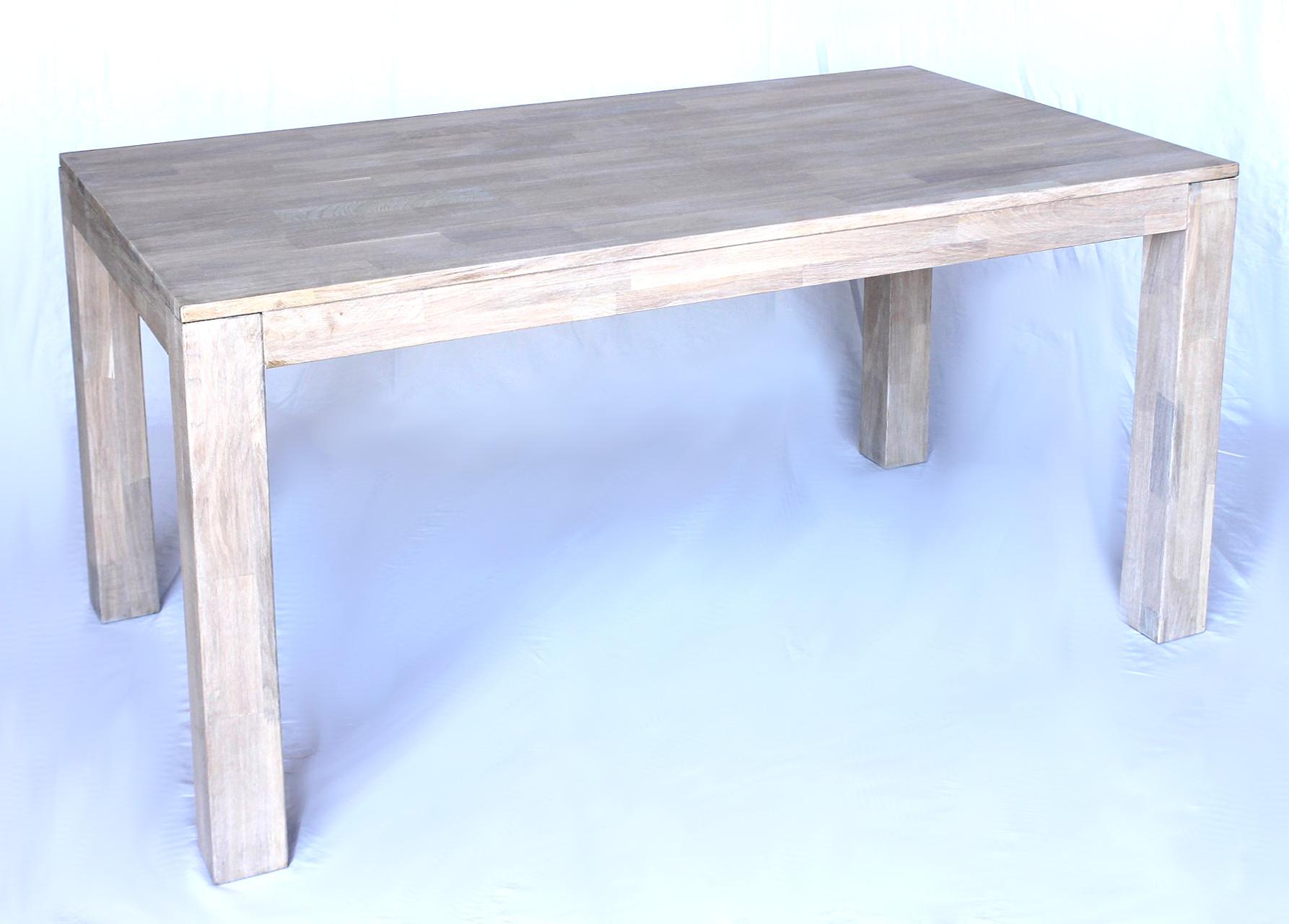 Dandibo Esstisch Holz 150x80cm Eiche Weiß Hell Massiv Küchentisch