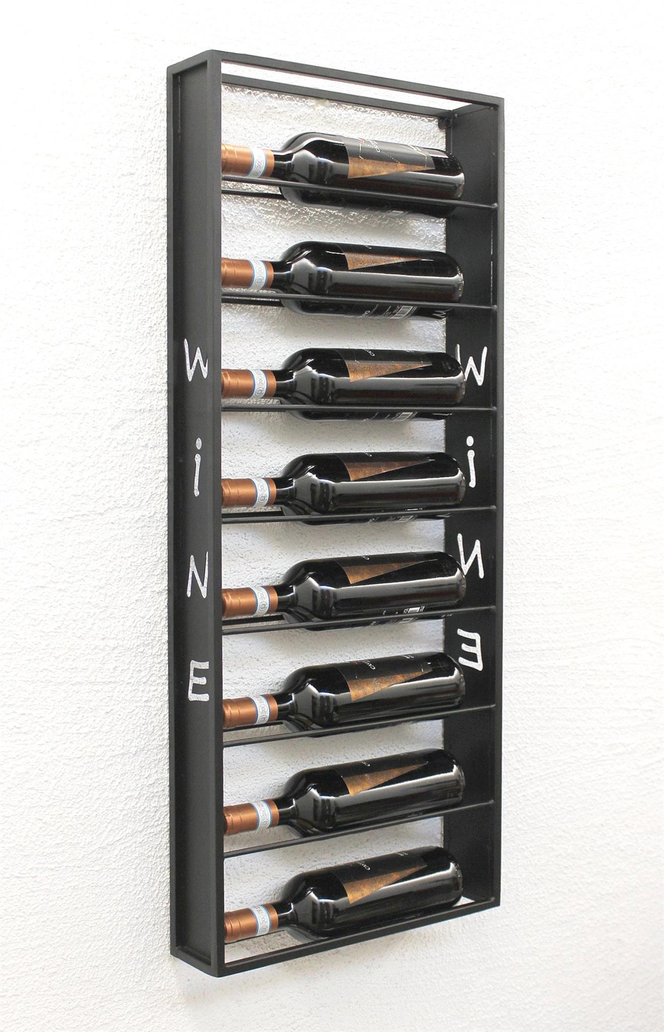 weinregal wand metall schwarz sofie flaschenst nder flaschenregal flaschenhalter. Black Bedroom Furniture Sets. Home Design Ideas