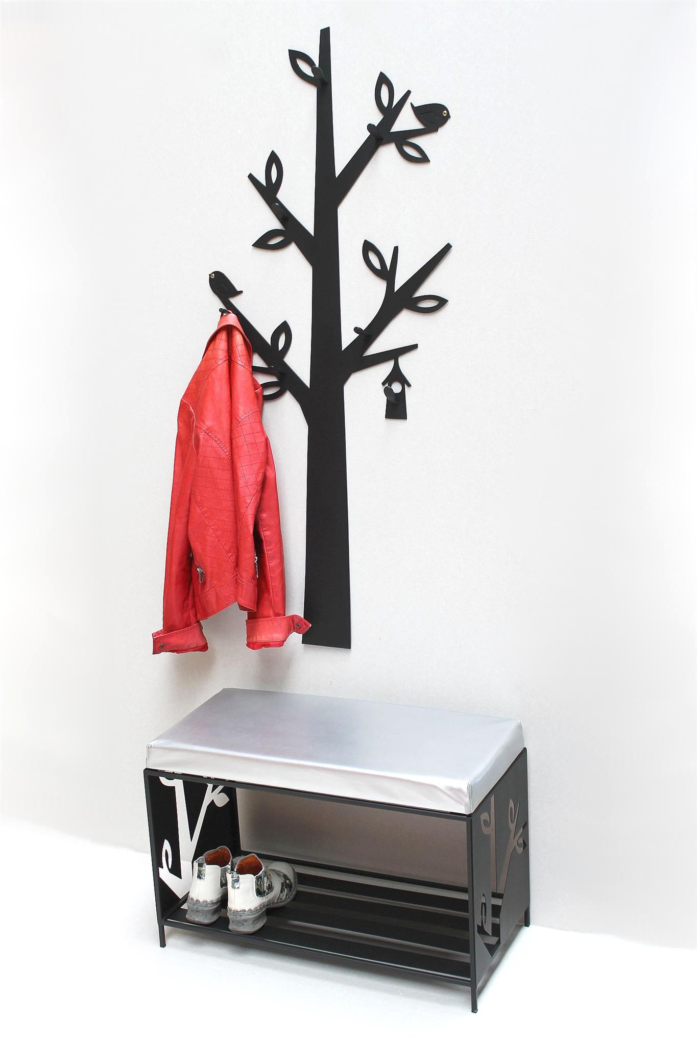 schuhregal mit sitzfl che wandgarderobe set baum metall. Black Bedroom Furniture Sets. Home Design Ideas