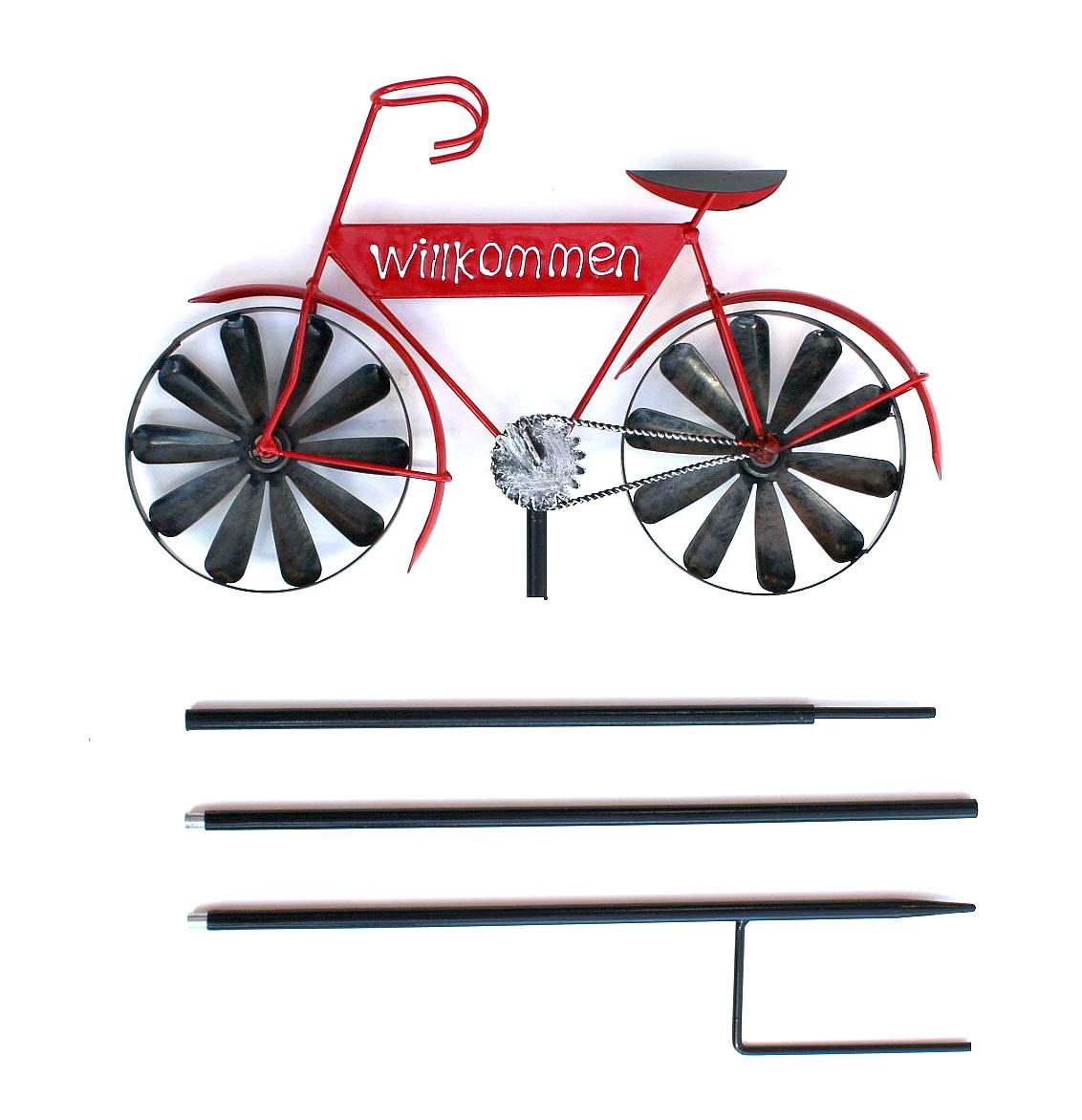 Gartenstecker Metall Fahrrad Willkommen Rot MT86 Windspiel