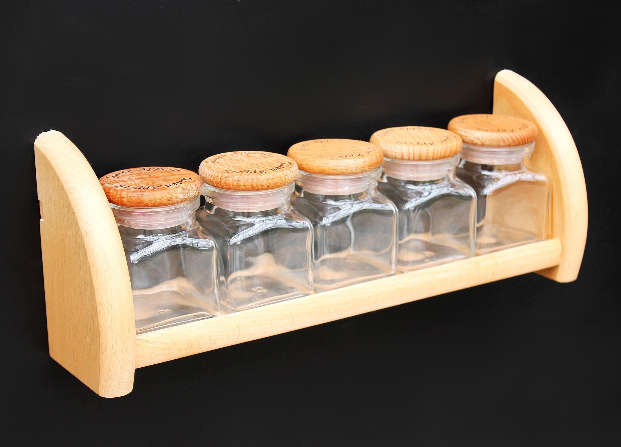 Gewürzregal aus Holz Buche mit 5 Gläser Gewürzhalter Regal Wandregal ...