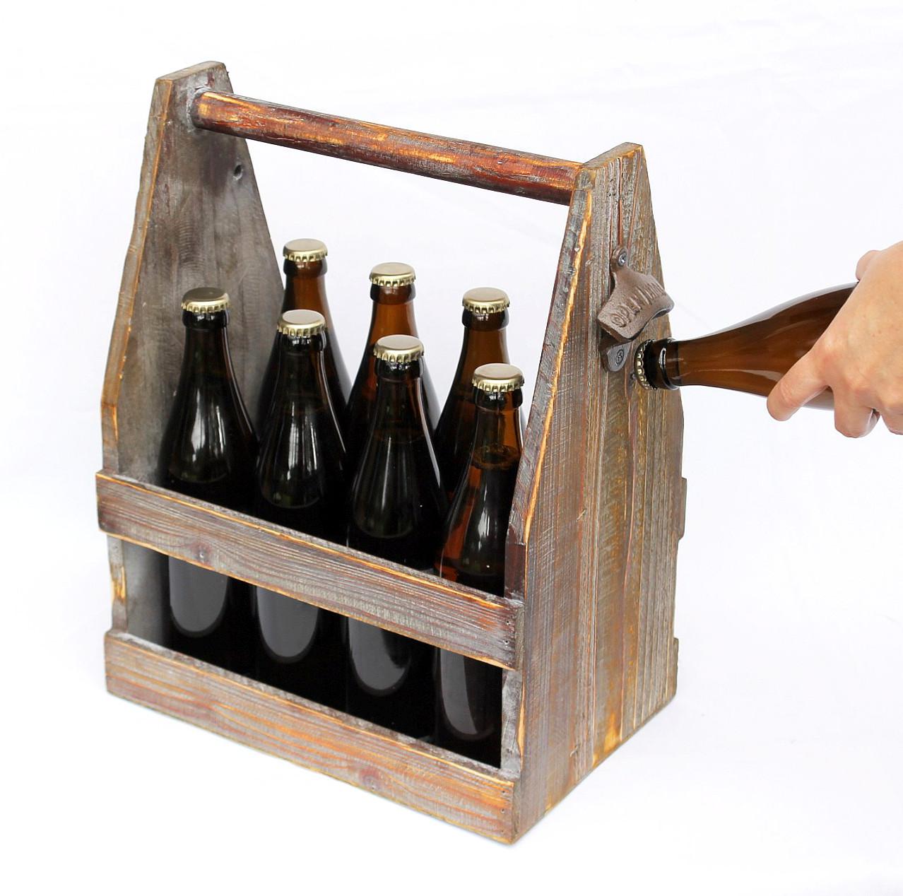 biertr ger mit flaschen ffner sehr robust und dekorativ mit platz f r 8 bierflaschen aus holz. Black Bedroom Furniture Sets. Home Design Ideas