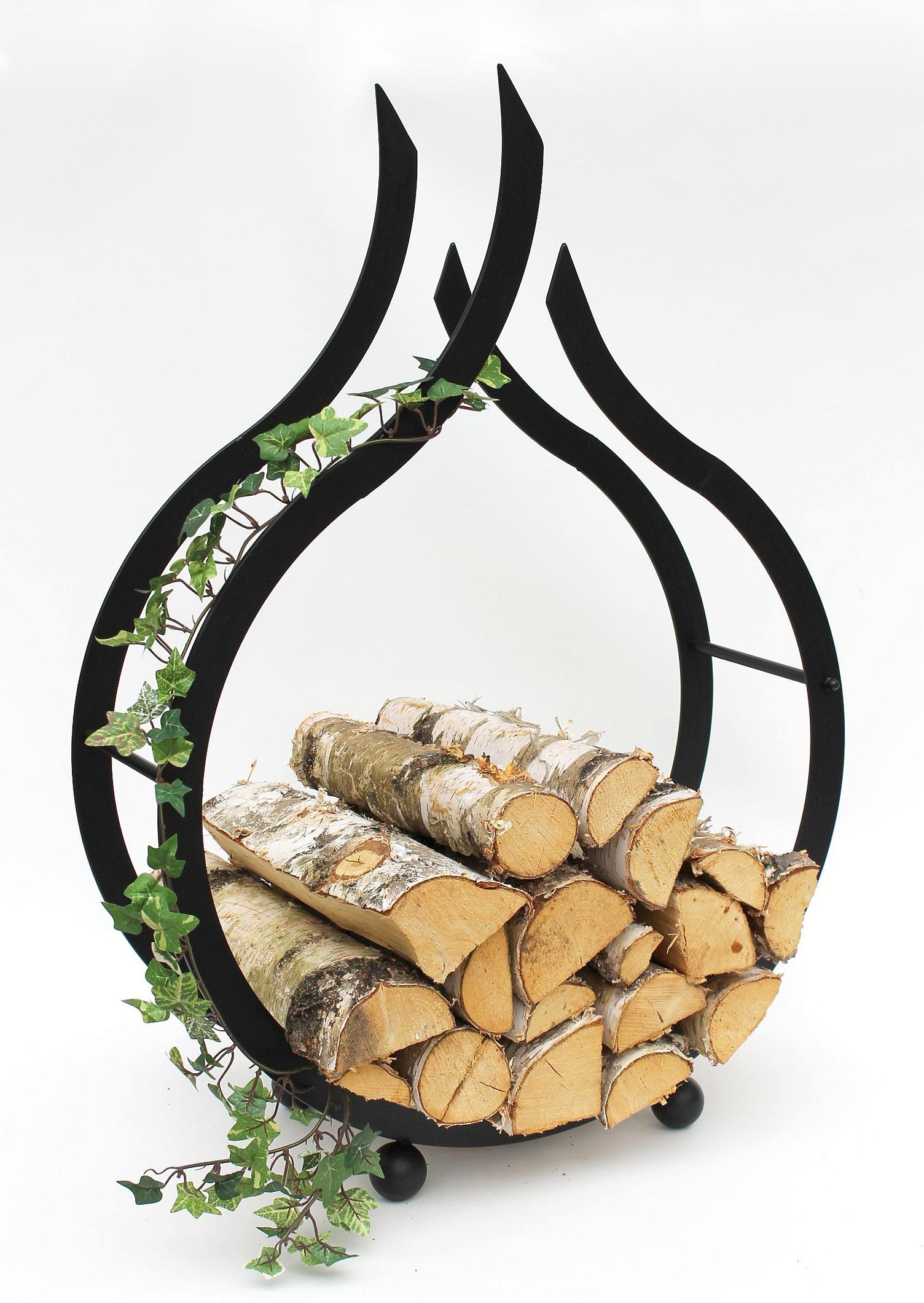 Wood Rack Flame Chimney Stand 78 Cm Wooden Basket Firewood