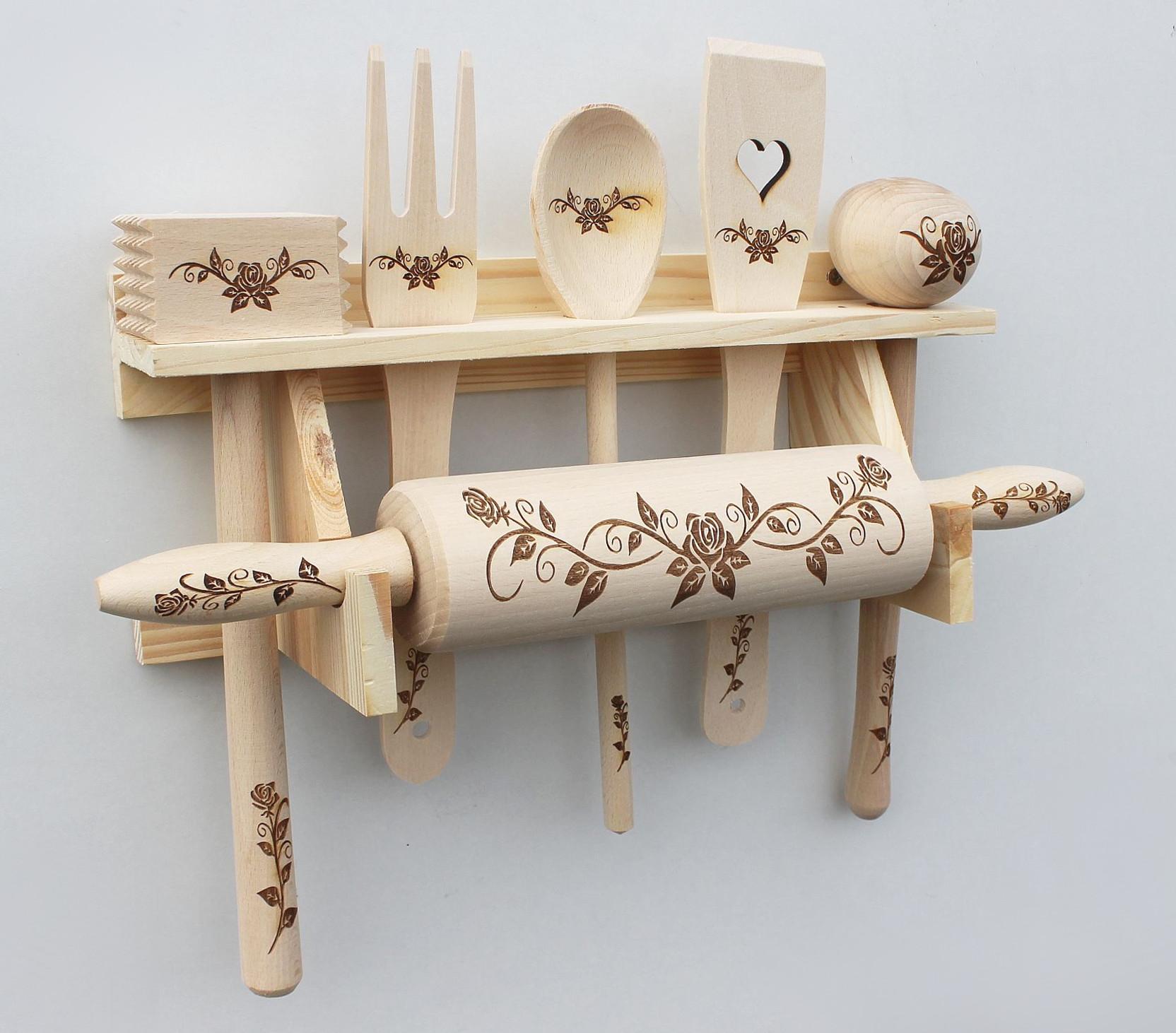Küchenset 6 tlg. aus Holz mit Gravur Küchenhelfer Kochlöffel ...
