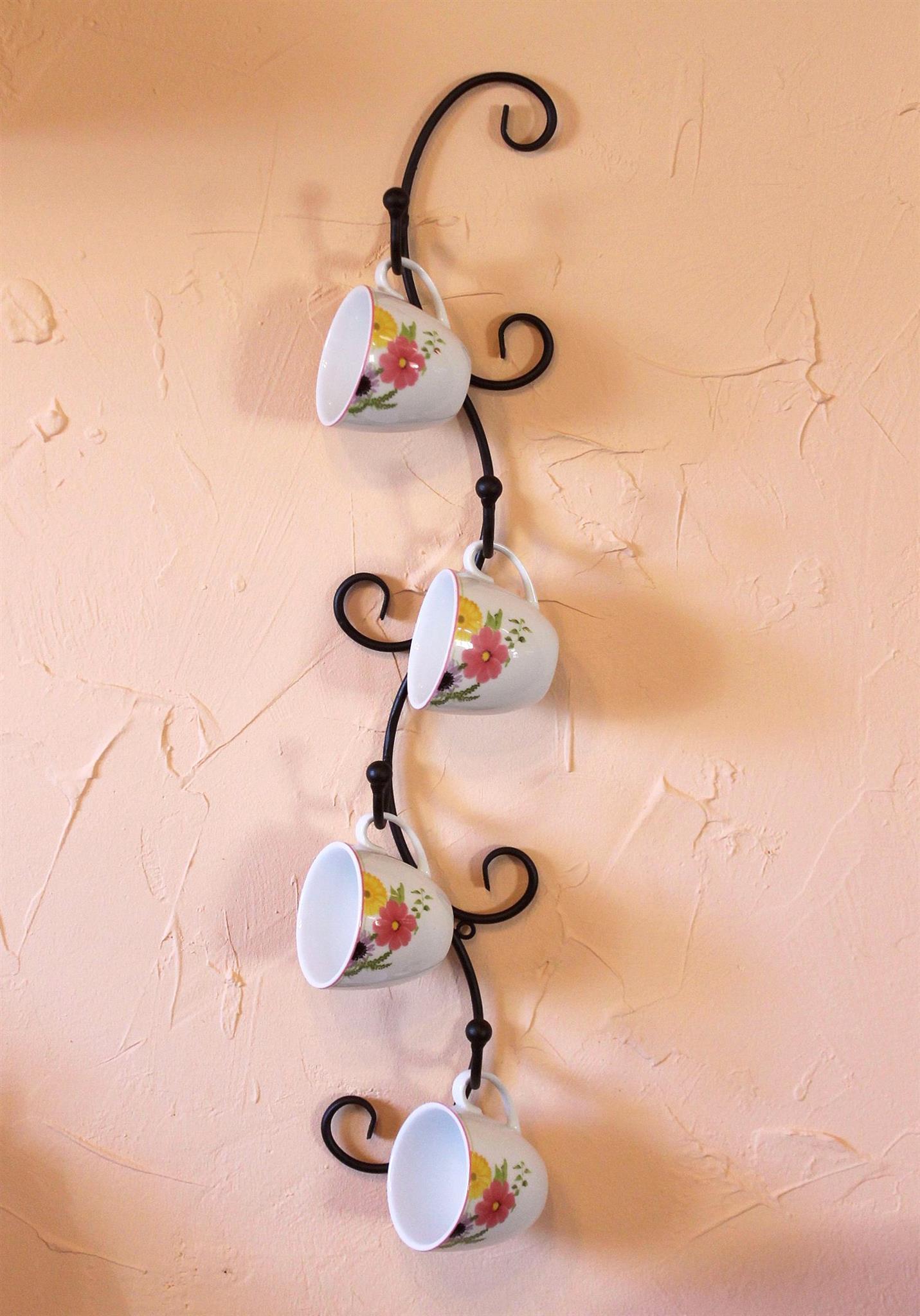 Tassenhalter Wand Schwarz Metall 68 Cm Olivia Tassenhaken Küche Vintage  Antik Becherhalter