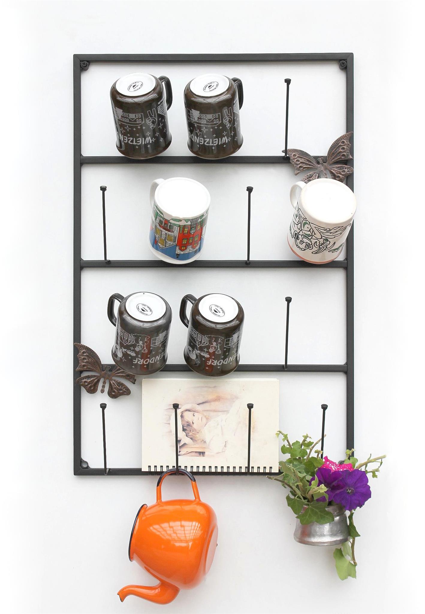 Tassenhalter Wand Schwarz Metall 60 Cm 93850 Tassenhaken Kuche