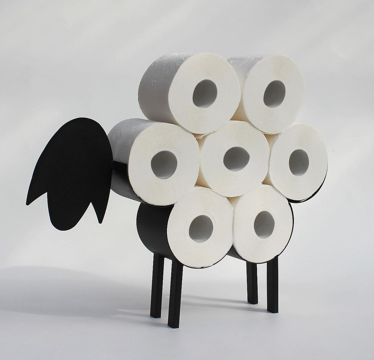 Dandibo Toilettenpapierhalter Schwarz Metall Schaf Wc