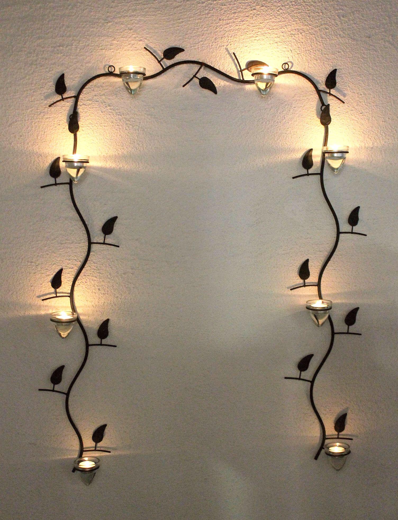 wandteelichthalter 10412 wandkerzenhalter aus metall 107 cm braun teelichthalter dandibo. Black Bedroom Furniture Sets. Home Design Ideas