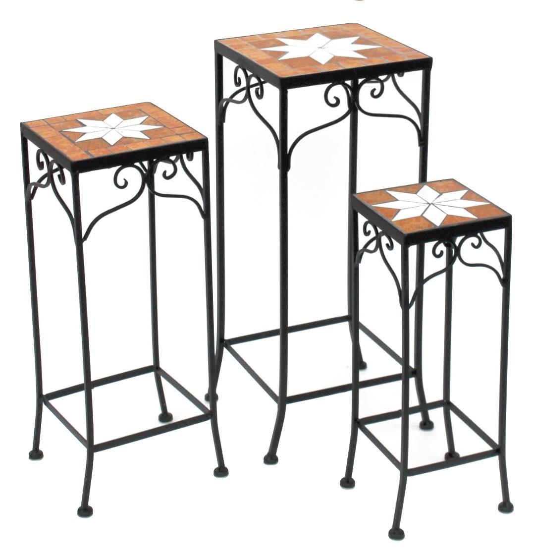 DanDiBo Stool Merano Mosaic 12012 Flower stand 46 Stool square Side table