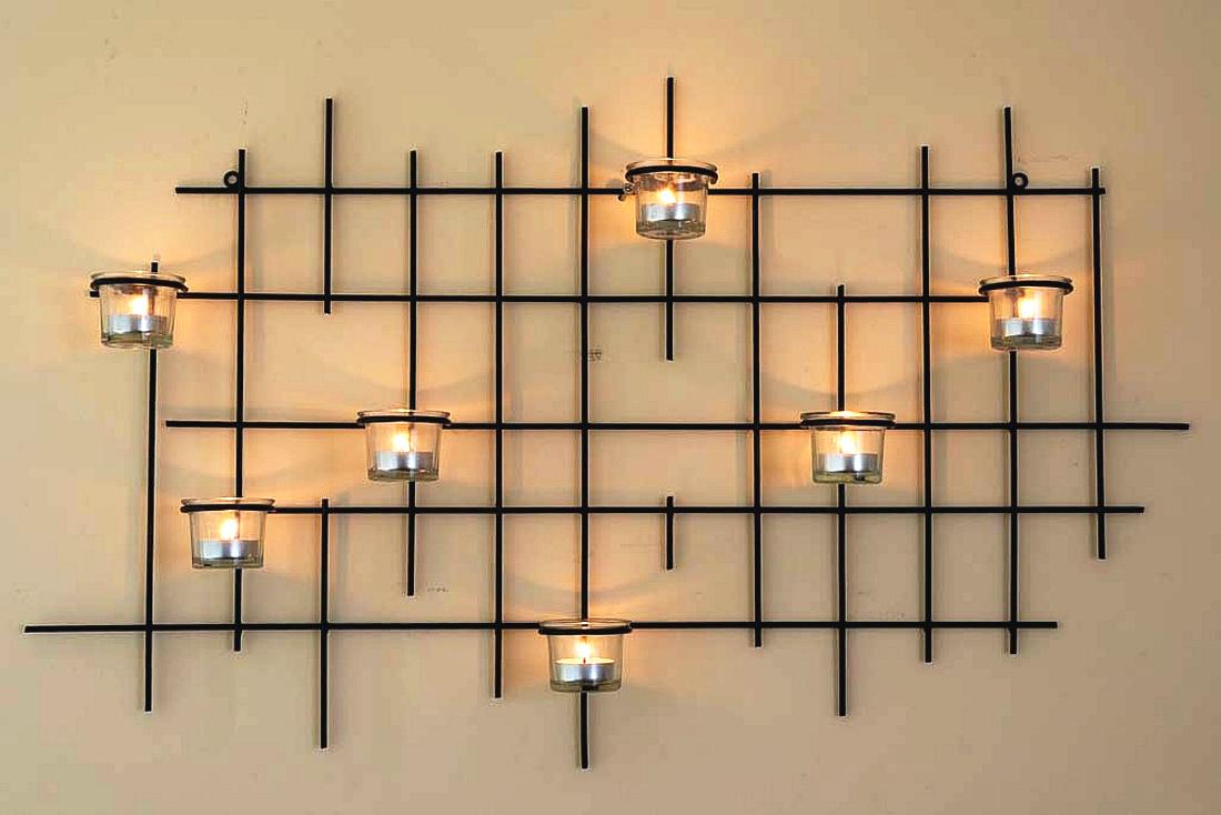 wandteelichthalter 7xxl wandkerzenhalter metall 83cm teelichthalter kerzenhalter dandibo. Black Bedroom Furniture Sets. Home Design Ideas