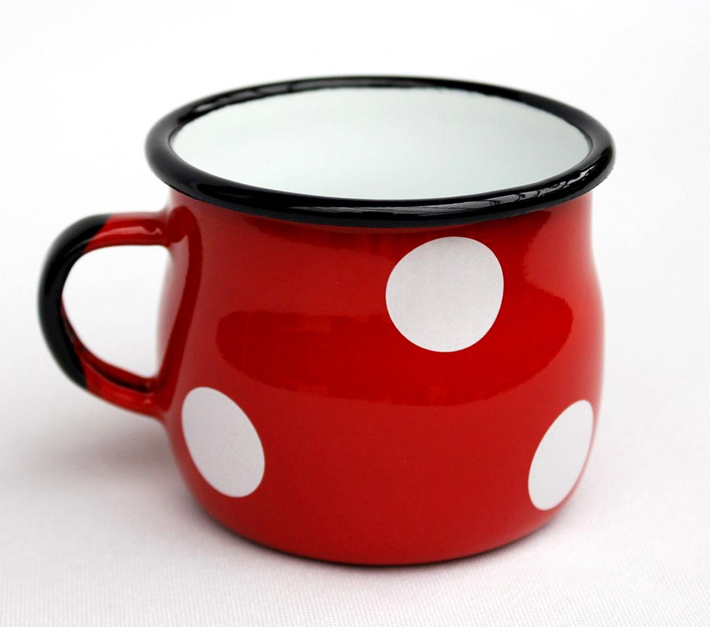 emaille tasse 501w 7 rot mit wei en punkten becher emailliert 7 cm kaffeebecher kaffeetasse. Black Bedroom Furniture Sets. Home Design Ideas