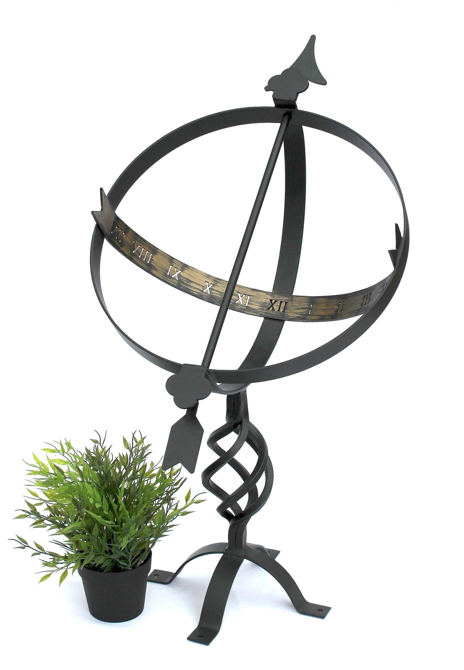 sonnenuhr schwarz aus metall schmiedeeisen wetterfest 72cm gartenuhr uhr gartendeko dandibo. Black Bedroom Furniture Sets. Home Design Ideas