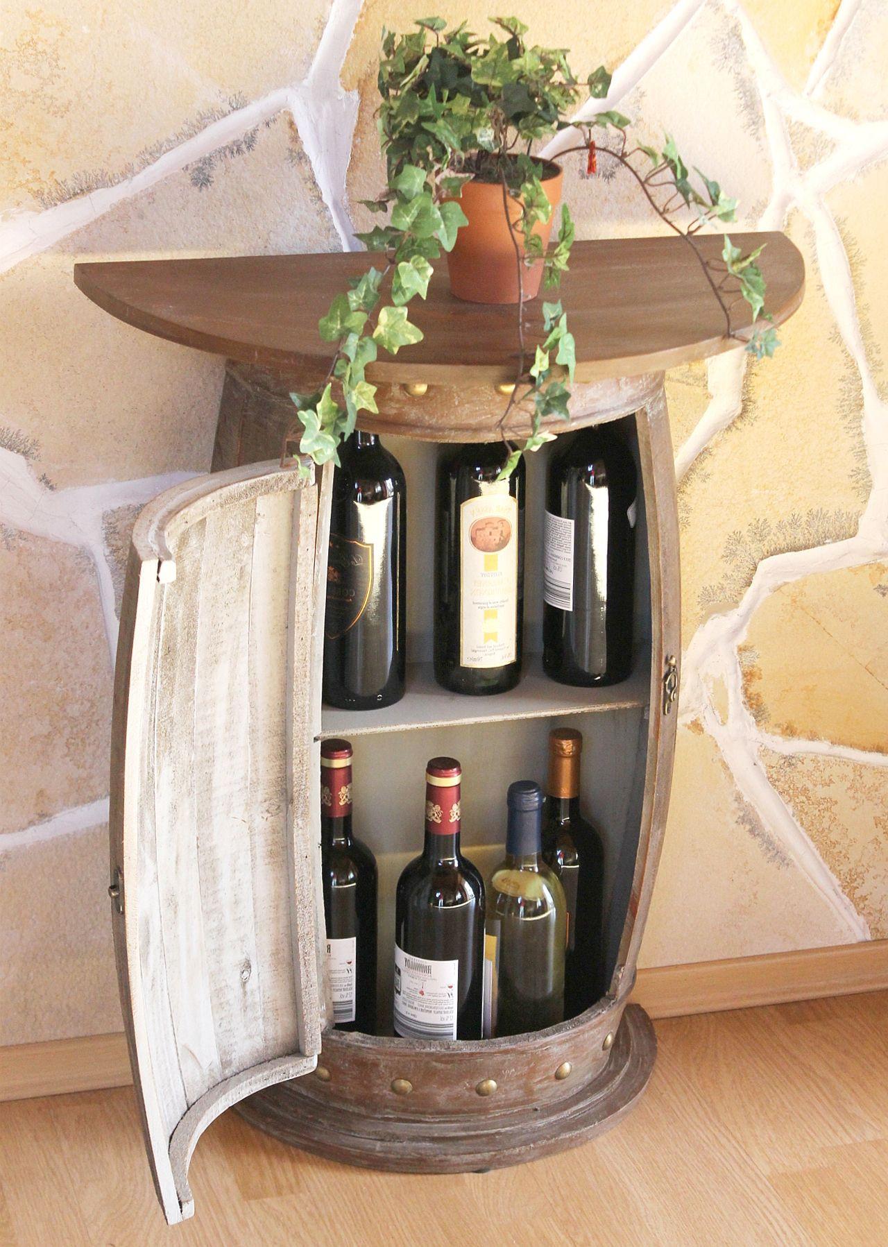 Wandtisch Tisch Weinfass 0373 R Braun Schrank Weinregal Fass 73cm Beistelltisch Dandibo