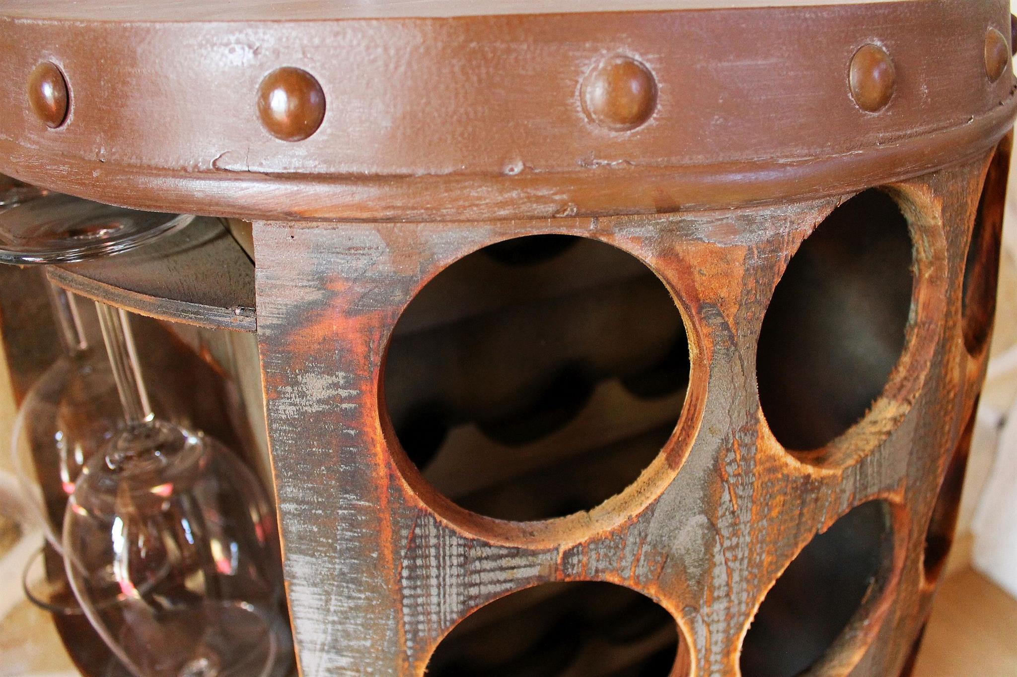 Weinregal Weinfass 1486 Beistelltisch Schrank Faß aus Holz 72cm ...