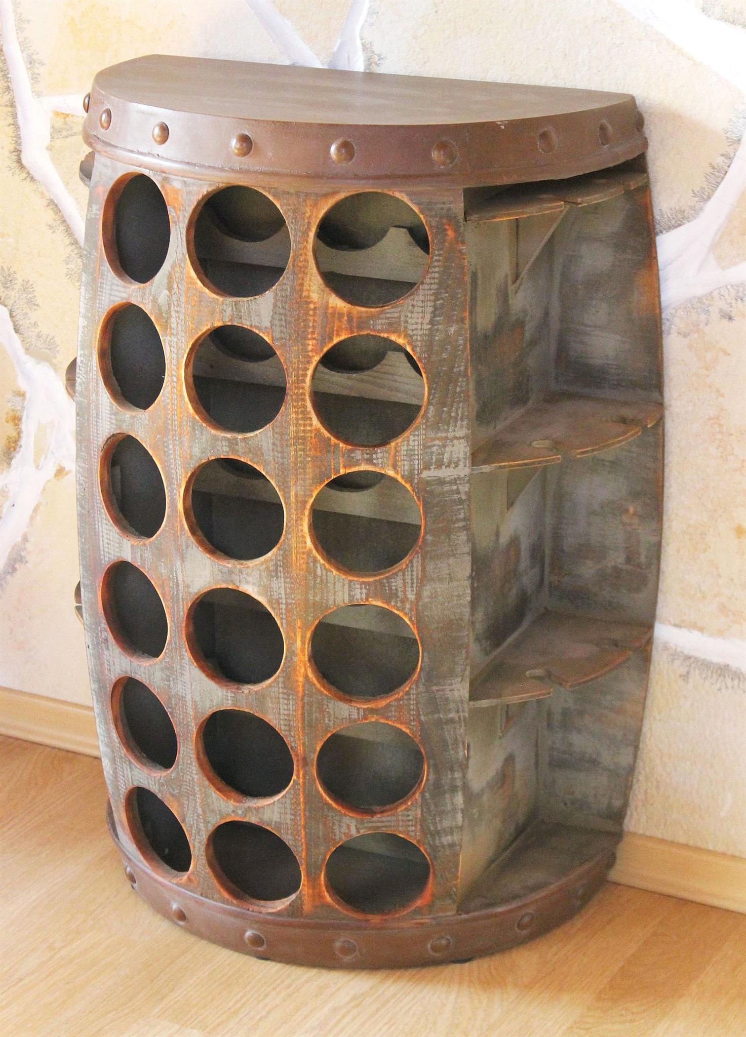 Dandibo Weinregal Holz Vintage Weinfass Flaschenregal 1486 Beistelltisch Schrank Fass 72cm Hoch Weinbar Dandibo Ambiente