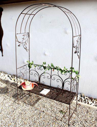 rosenbogen mit bank 130472 metall 236cm gartenbank spalier pergola kletterhilfe dandibo. Black Bedroom Furniture Sets. Home Design Ideas