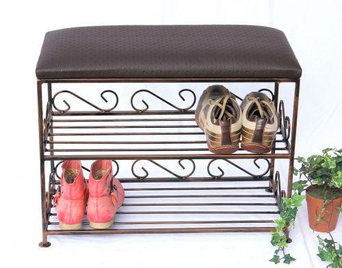 schuhregal mit sitzbank bank 60cm schuhschrank aus metall schuhablage dandibo. Black Bedroom Furniture Sets. Home Design Ideas