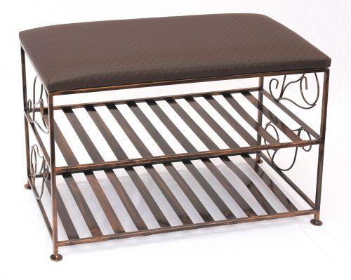 schuhregal mit sitzbank bank 70cm schuhschrank aus metall schuhablage schuhbank dandibo. Black Bedroom Furniture Sets. Home Design Ideas