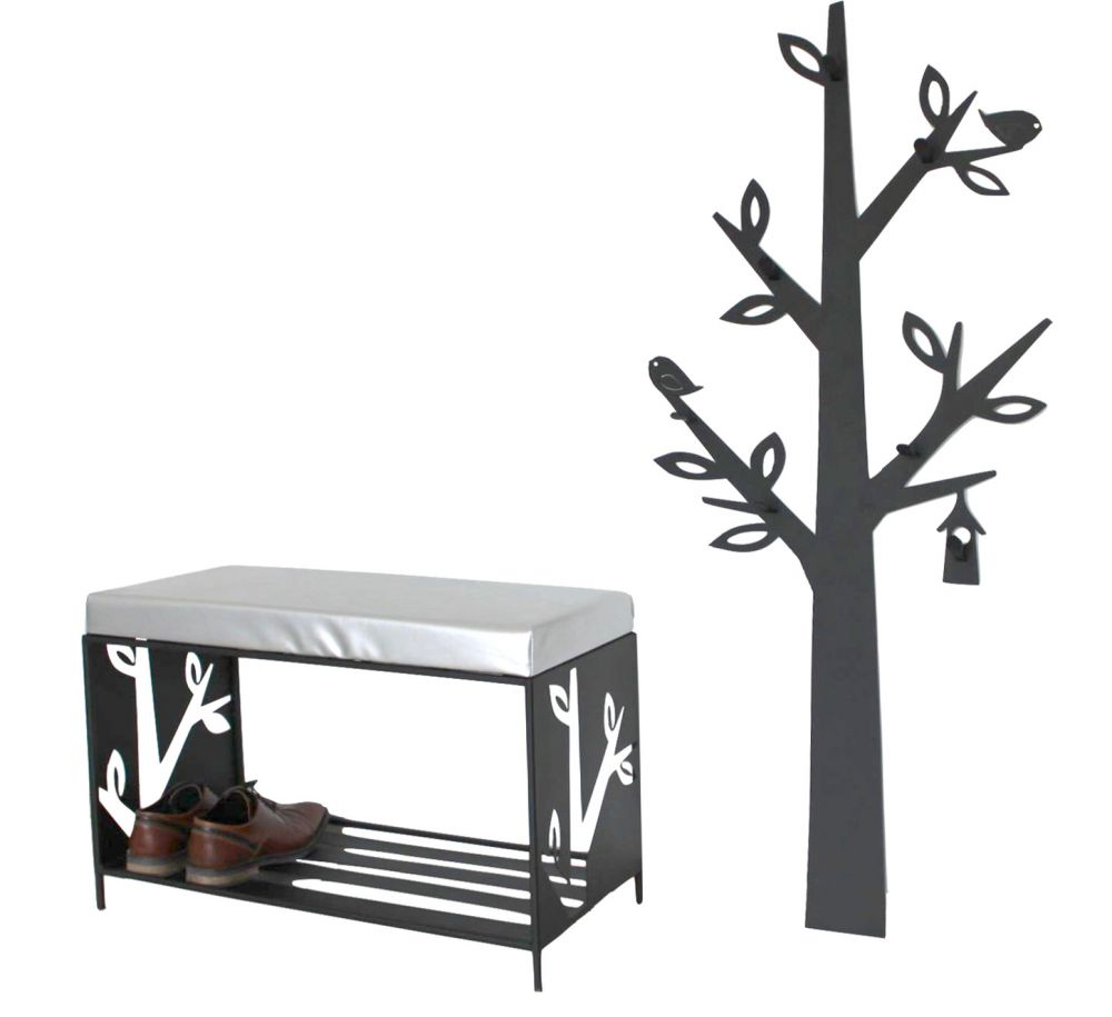 schuhregal mit sitzfl che wandgarderobe set baum metall schwarz flurgarderoben modern schuhbank. Black Bedroom Furniture Sets. Home Design Ideas