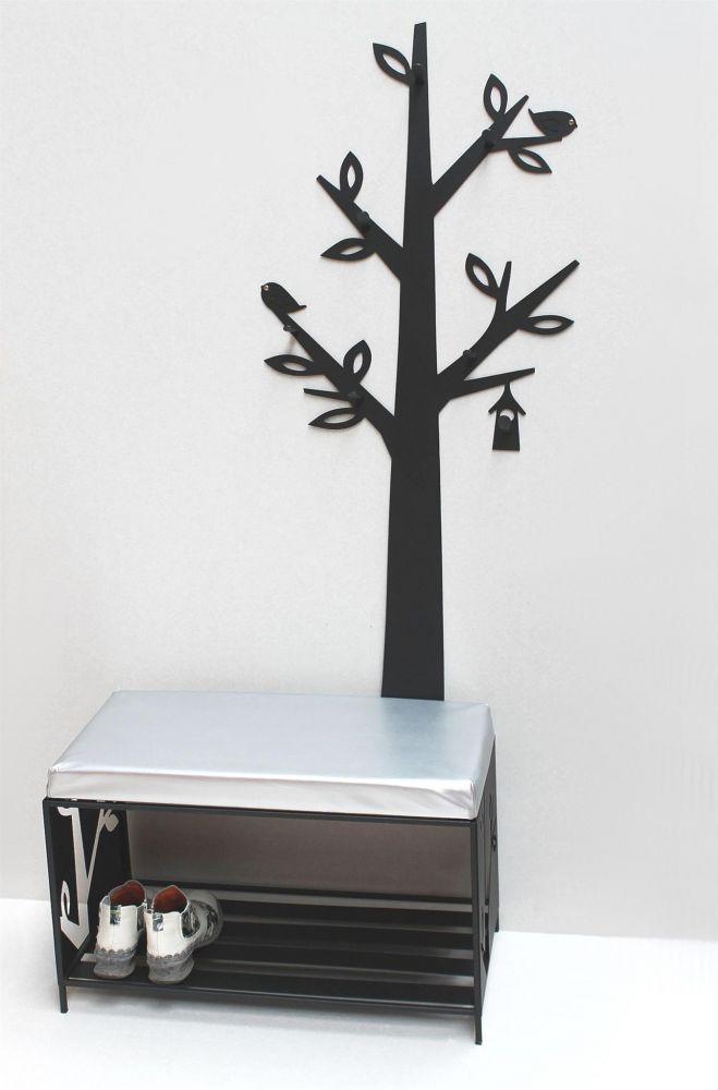 schuhregal mit sitzfl che wandgarderobe set baum metall schwarz flurgarderoben modern schuhbank. Black Bedroom Furniture Sets. Home Design Ideas