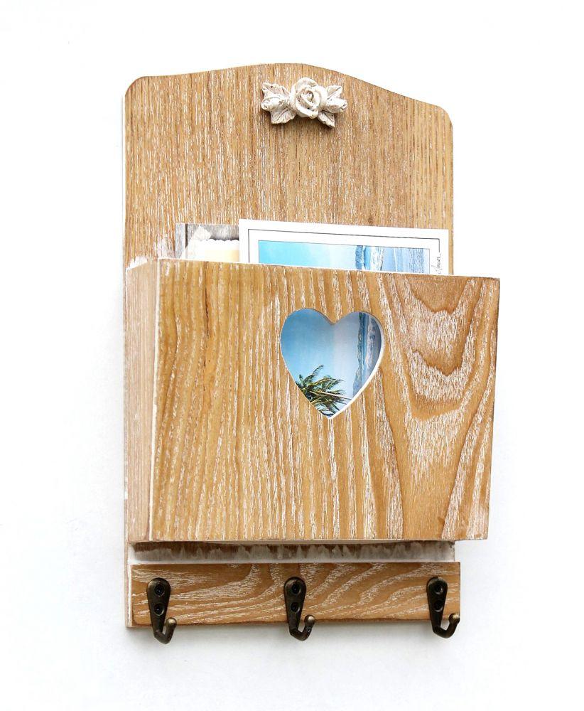 wandorganizer schl sselhaken holz mit fach vintage 29 cm 15005 schl sselboard briefablage wand. Black Bedroom Furniture Sets. Home Design Ideas