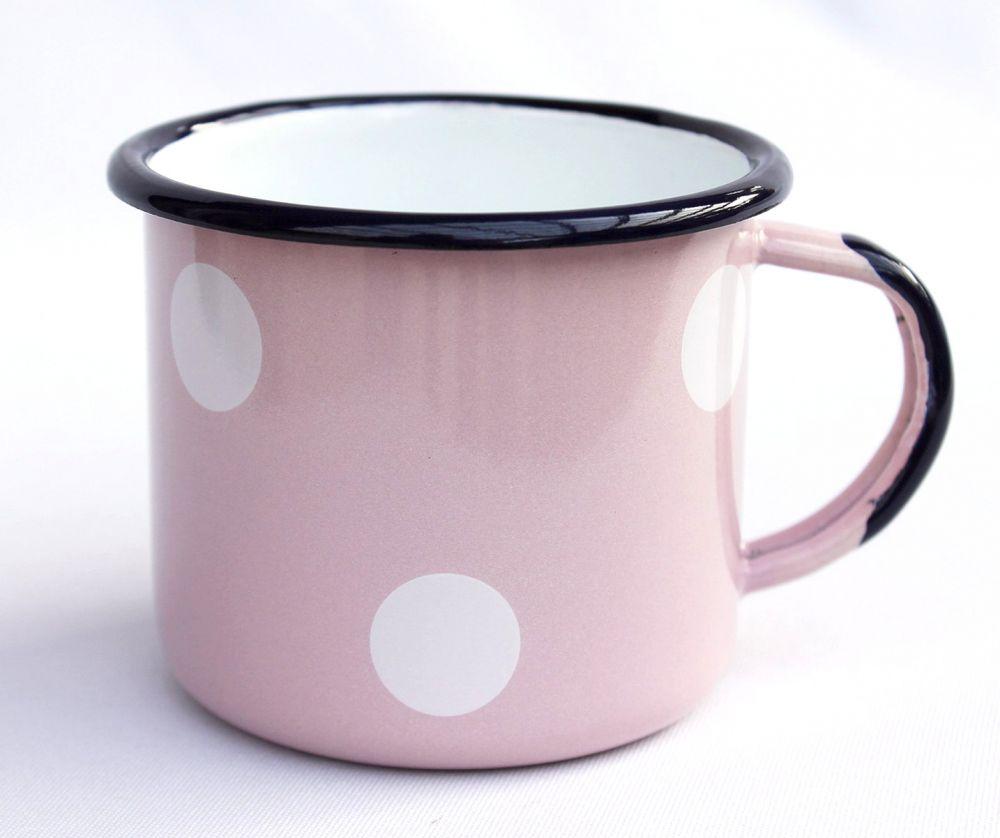 emaille tasse 501 8 rosa mit wei en punkten becher emailliert 8 cm kaffeebecher kaffeetasse. Black Bedroom Furniture Sets. Home Design Ideas