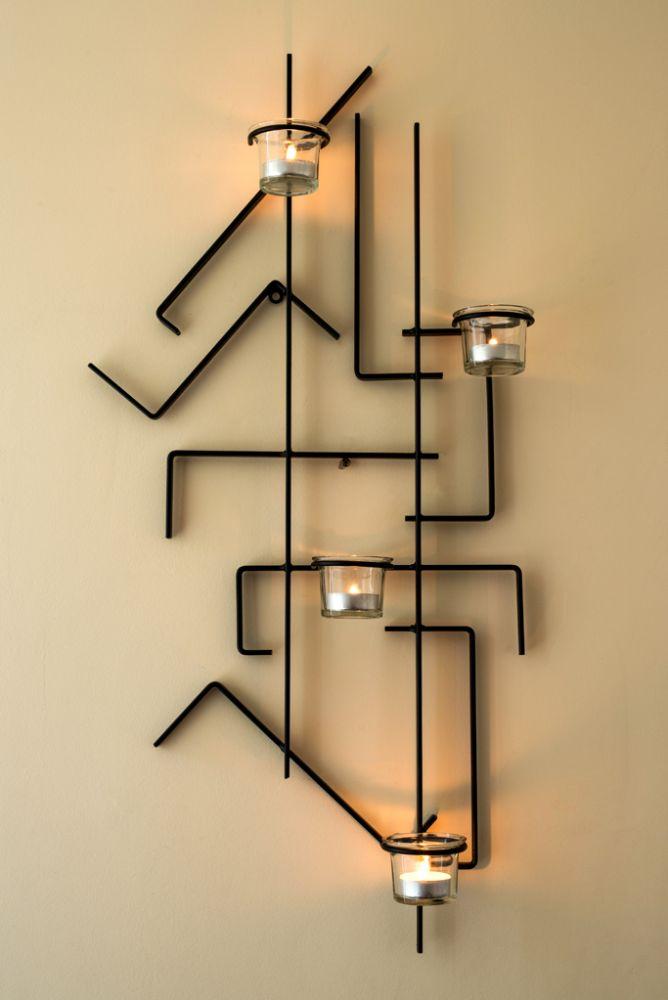 wandleuchter mix4 wundersch ne wanddekoration mit platz f r 4 teelichter pulverbeschichtet. Black Bedroom Furniture Sets. Home Design Ideas