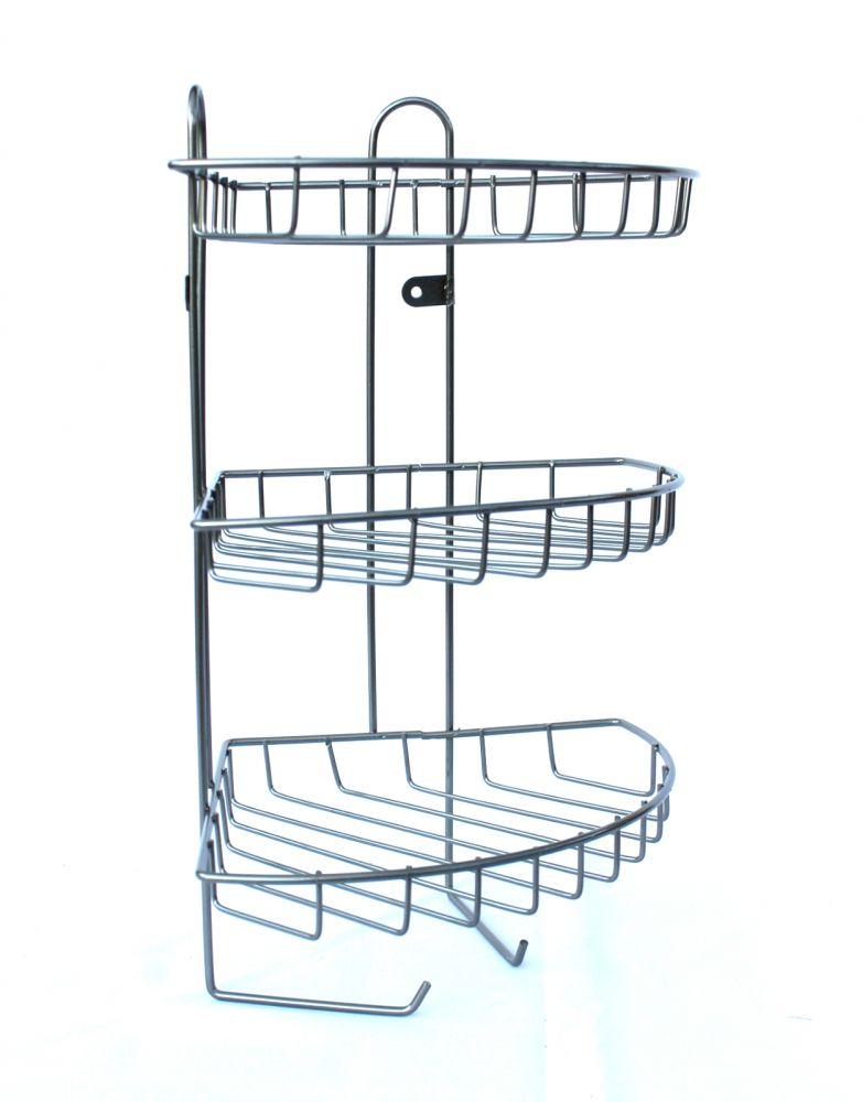 eckregal wandregal regal aus metall 44cm badregal duschablage ablage dandibo. Black Bedroom Furniture Sets. Home Design Ideas