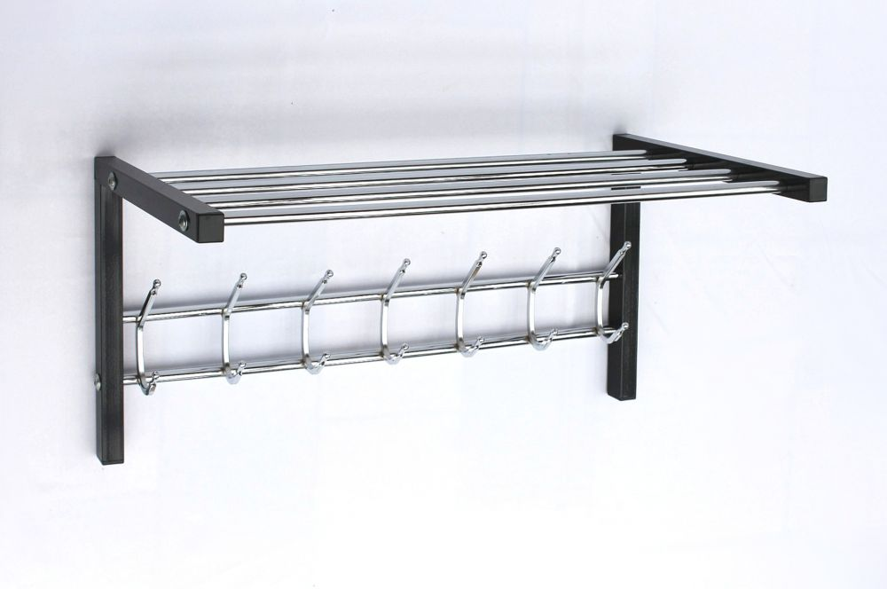 wandgarderobe mit hutablage garderobe 70cm kleiderhaken wandregal haken dandibo. Black Bedroom Furniture Sets. Home Design Ideas