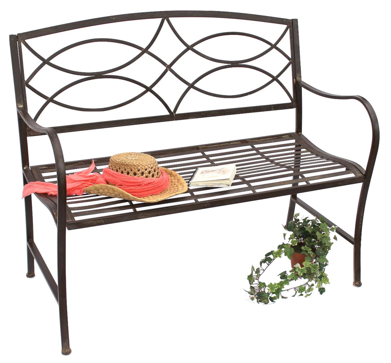 bank gartenbank aus metall sitzbank baumbank 2 sitzer 111185 109 cm parkbank ebay. Black Bedroom Furniture Sets. Home Design Ideas