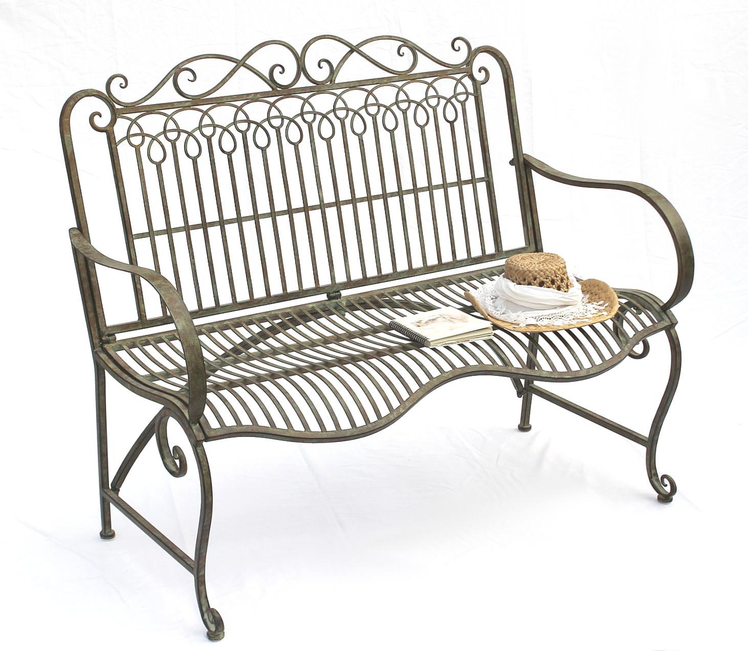 bank aus metall gartenbank jc150014 sitzbank parkbank 2 sitzer 110cm patina gr n ebay. Black Bedroom Furniture Sets. Home Design Ideas
