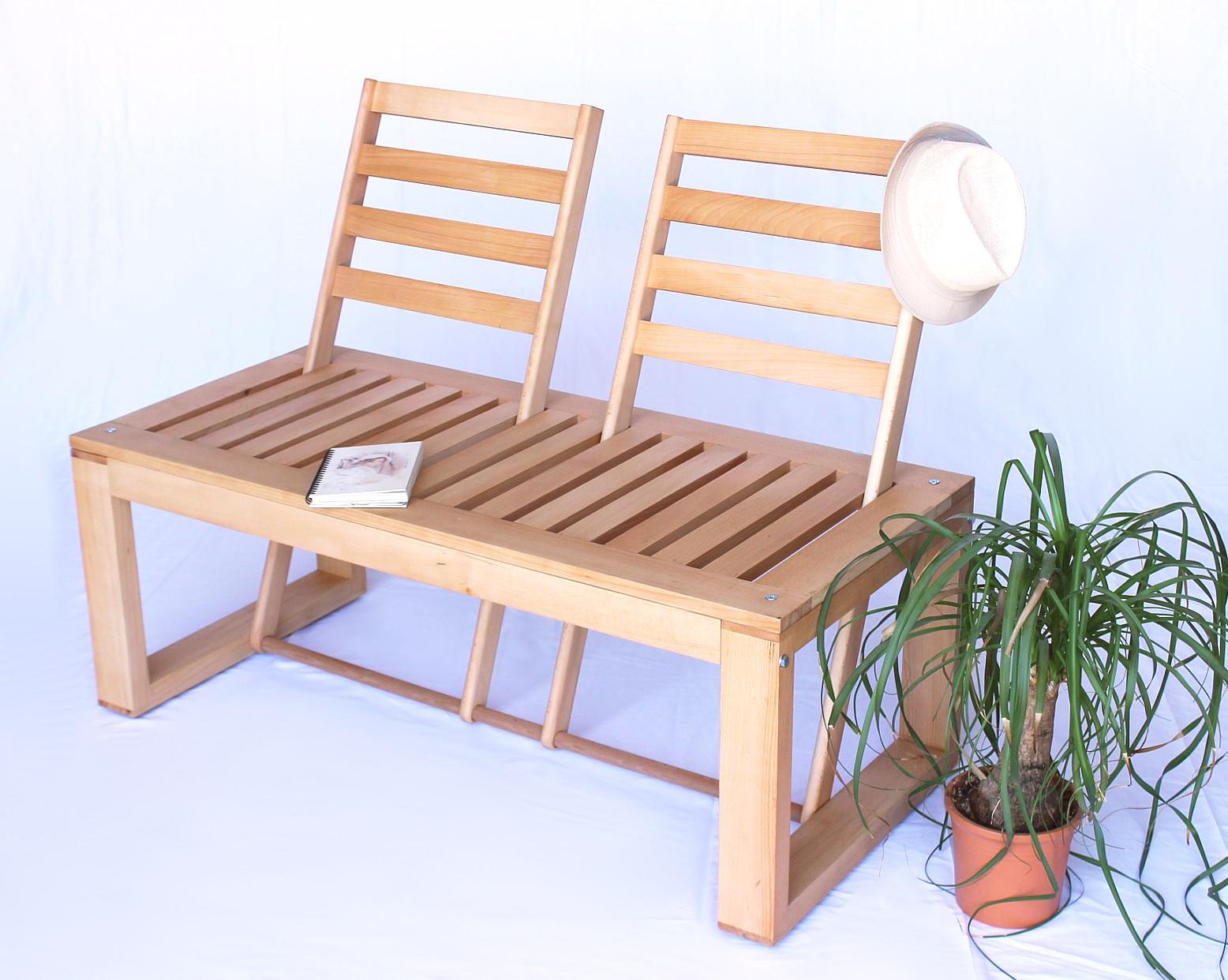 sitzbank gartenbank aus holz umklappare r ckenlehnen bank natur ebay. Black Bedroom Furniture Sets. Home Design Ideas