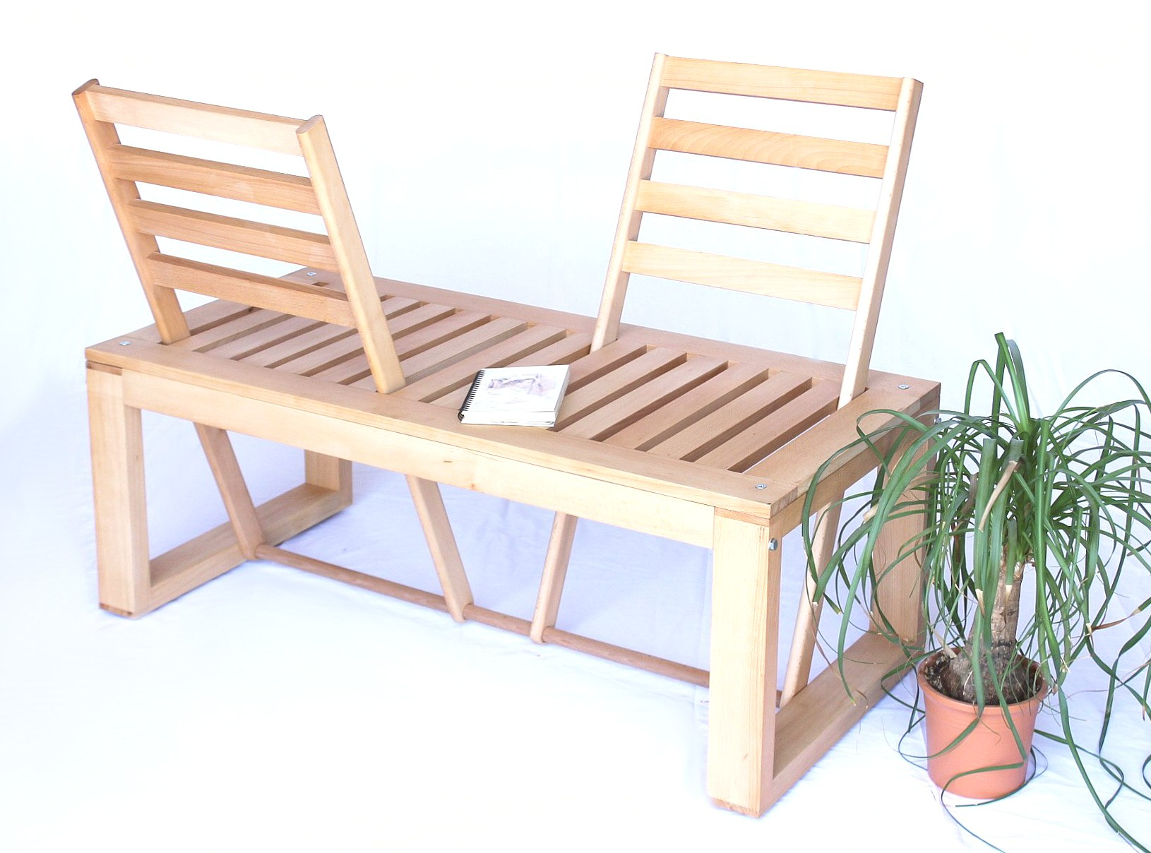banquette banc de jardin en bois umklappare dossiers banc nature ebay. Black Bedroom Furniture Sets. Home Design Ideas