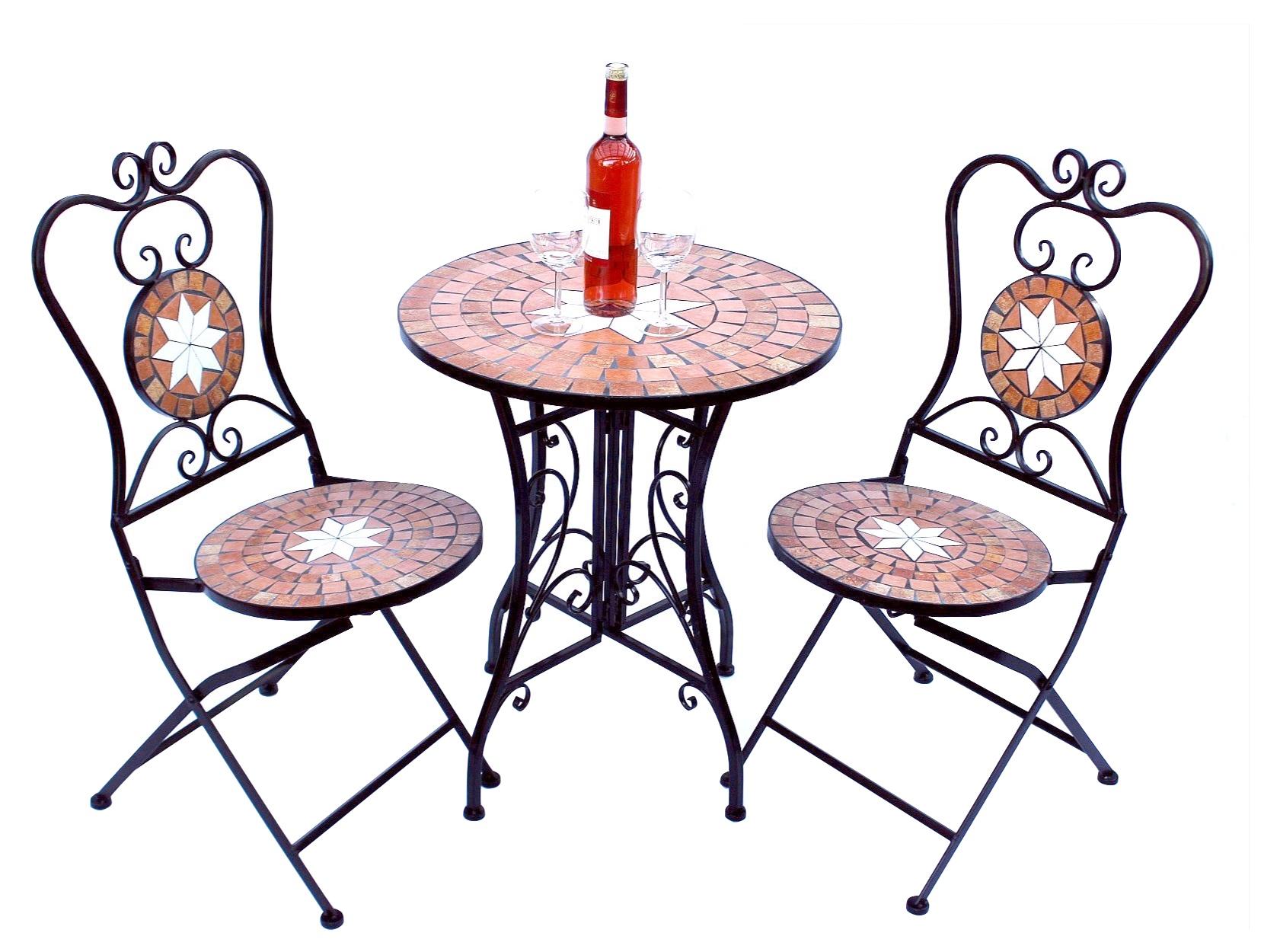 sitzgruppe merano 12001 2 gartentisch 2 stk gartenstuhl aus metall mosaik 4019115120271 ebay. Black Bedroom Furniture Sets. Home Design Ideas