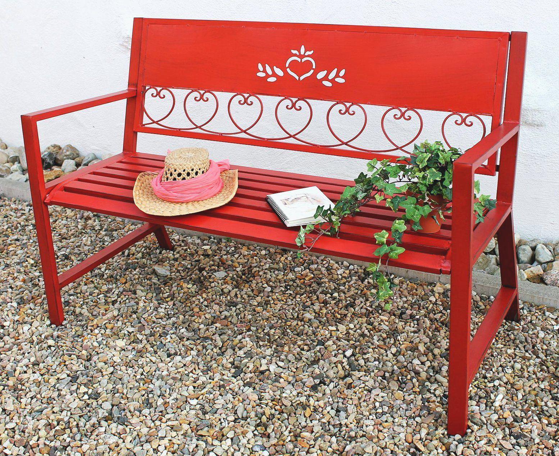 bank passion gartenbank rot 121495 sitzbank 120cm metall eisen blumenbank garten ebay. Black Bedroom Furniture Sets. Home Design Ideas