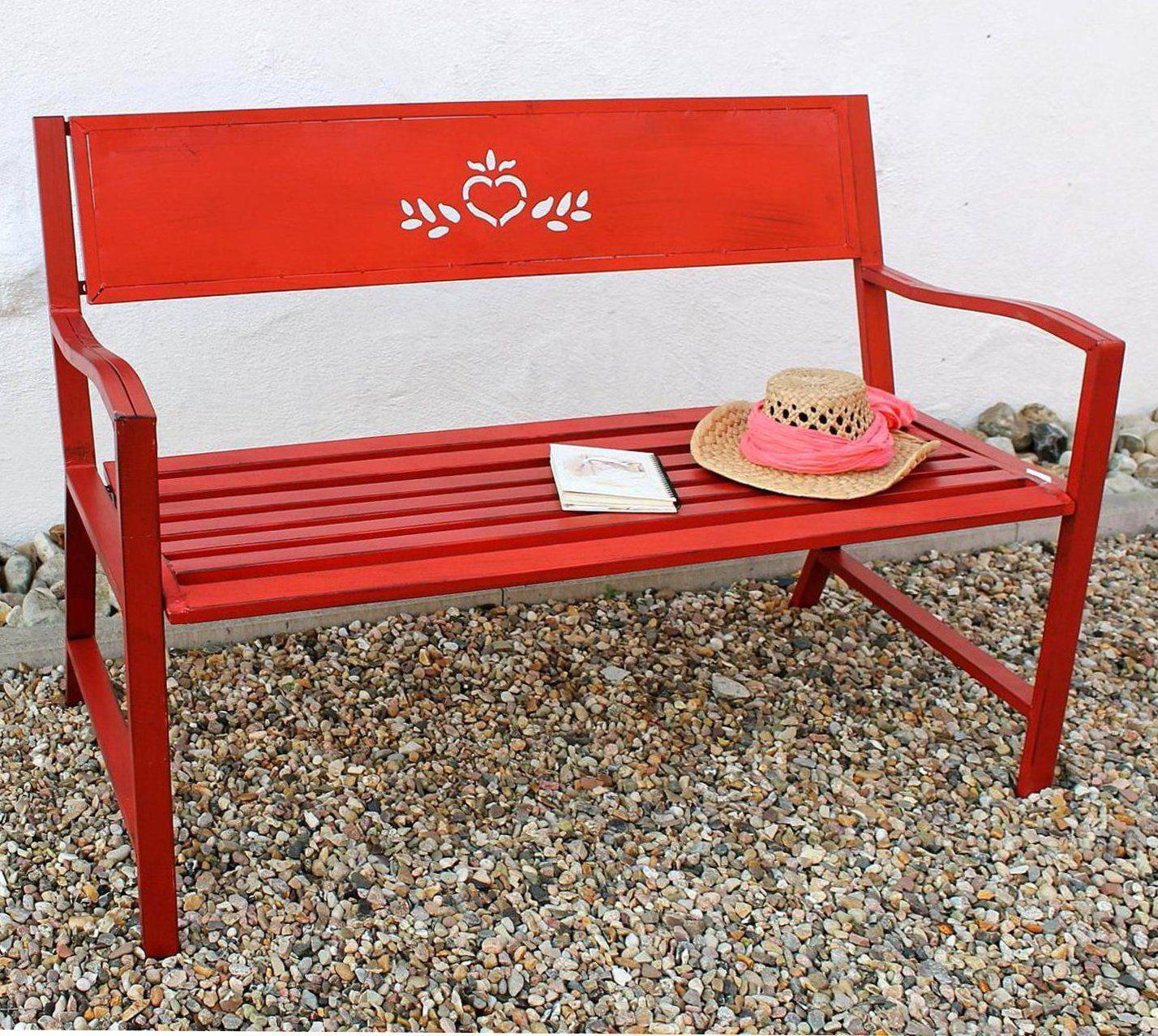 bank passion gartenbank rot 121496 sitzbank 120 cm metall eisen blumenbank ebay. Black Bedroom Furniture Sets. Home Design Ideas