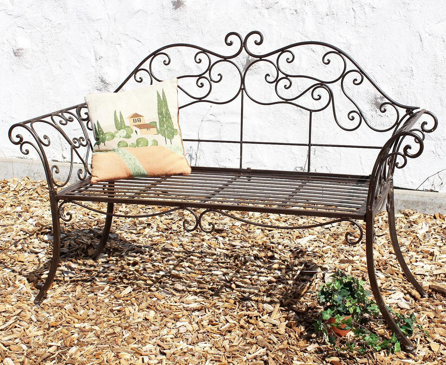 gartenbank braun bank schmiedeeisen 146 cm metall 111183 2 sitzbank parkbank ebay. Black Bedroom Furniture Sets. Home Design Ideas