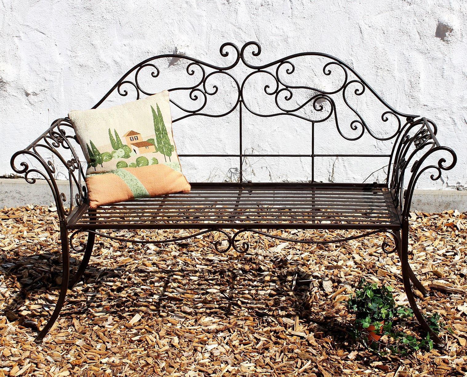 Gartenbank braun bank schmiedeeisen 146 cm metall 111183 2 - Gartenbank aus metall ...