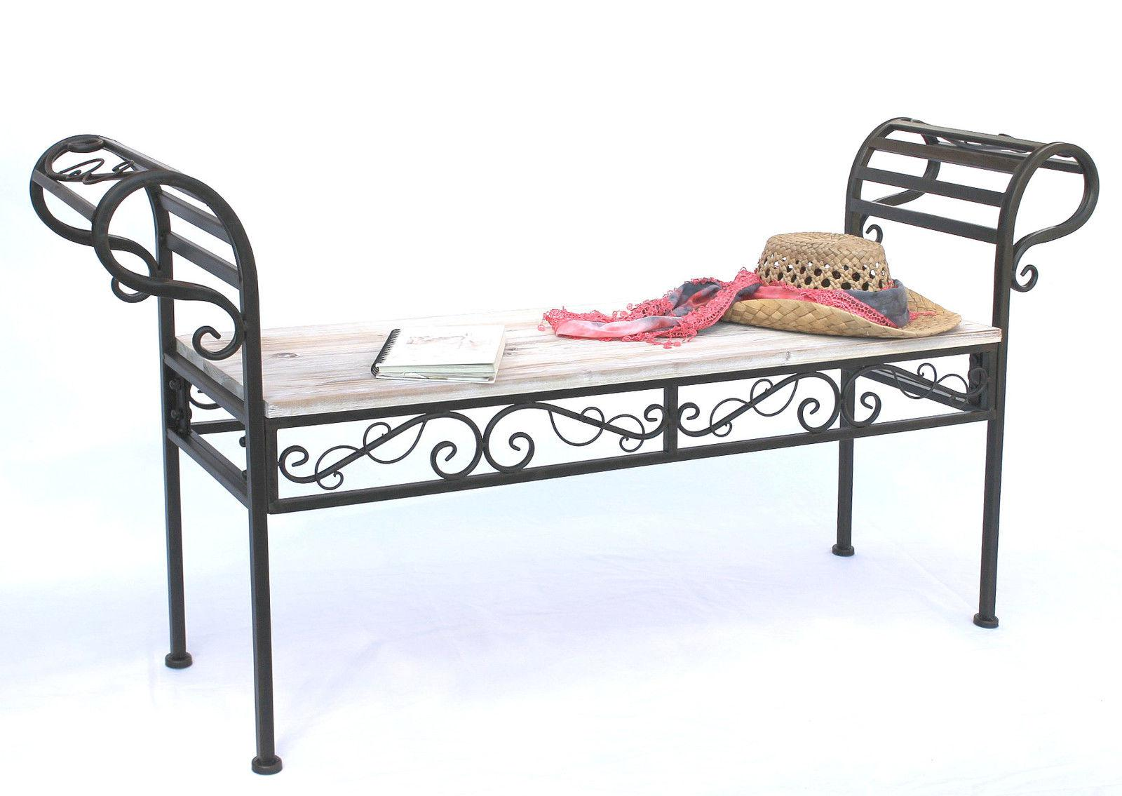 banc de jardin 19279 banc 133 cm en m tal et bois banc banc fer forg ebay. Black Bedroom Furniture Sets. Home Design Ideas