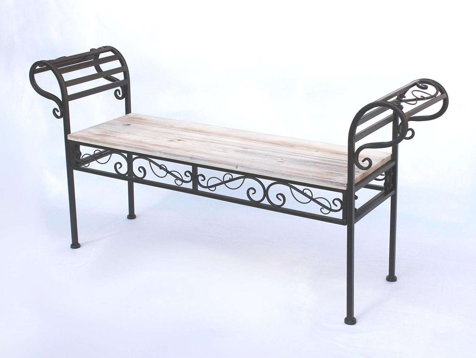 banc de jardin 19279 banc 133 cm en m tal et bois banc banc fer forg ebay. Black Bedroom Furniture Sets. Home Design Ideas