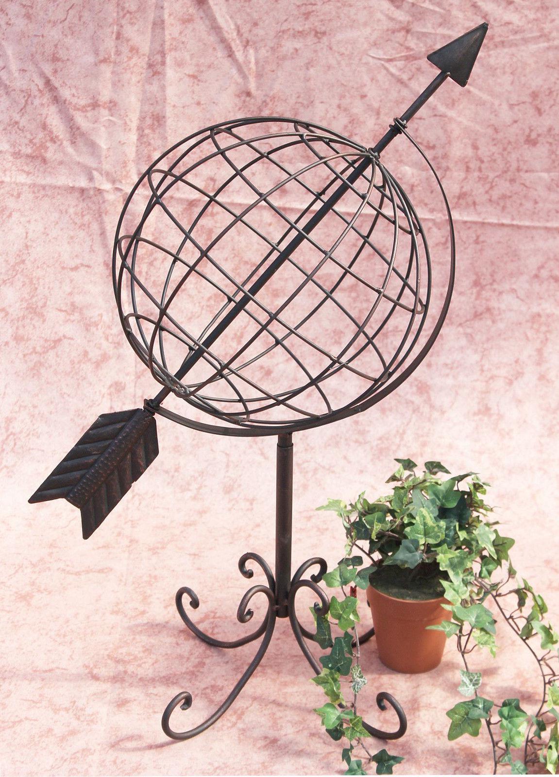 Globus aus metall 101806 sonnenuhr aus schmiedeeisen 72 cm for Gartendeko schmiedeeisen
